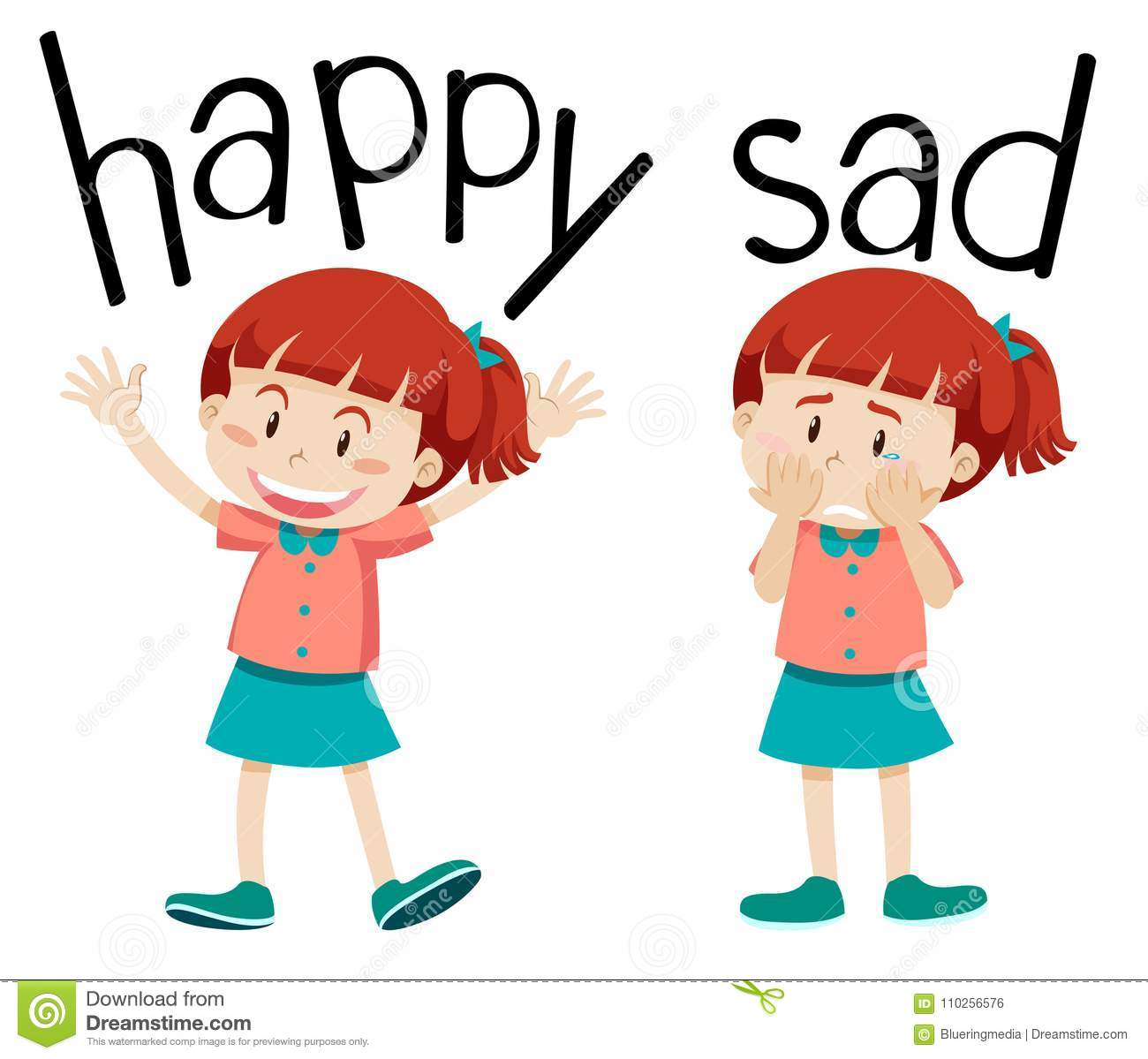 Opposite Words For Happy And Sad Stock Vector