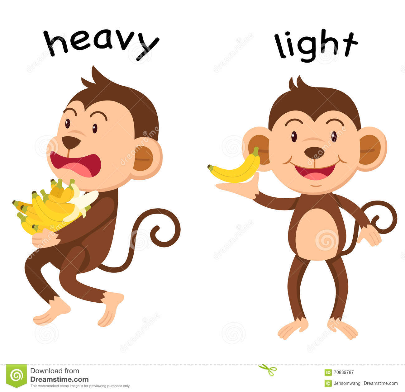 Opposite Words Heavy And Light Vector Stock Vector