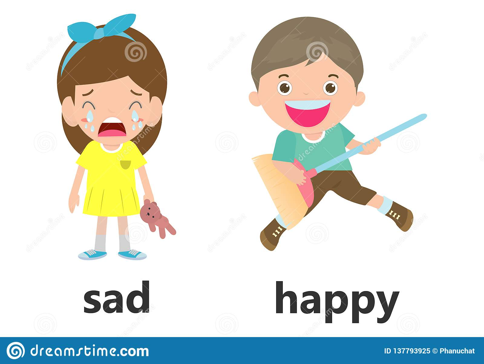 Opposite Words Sad And Happy Vector Illustration Opposite