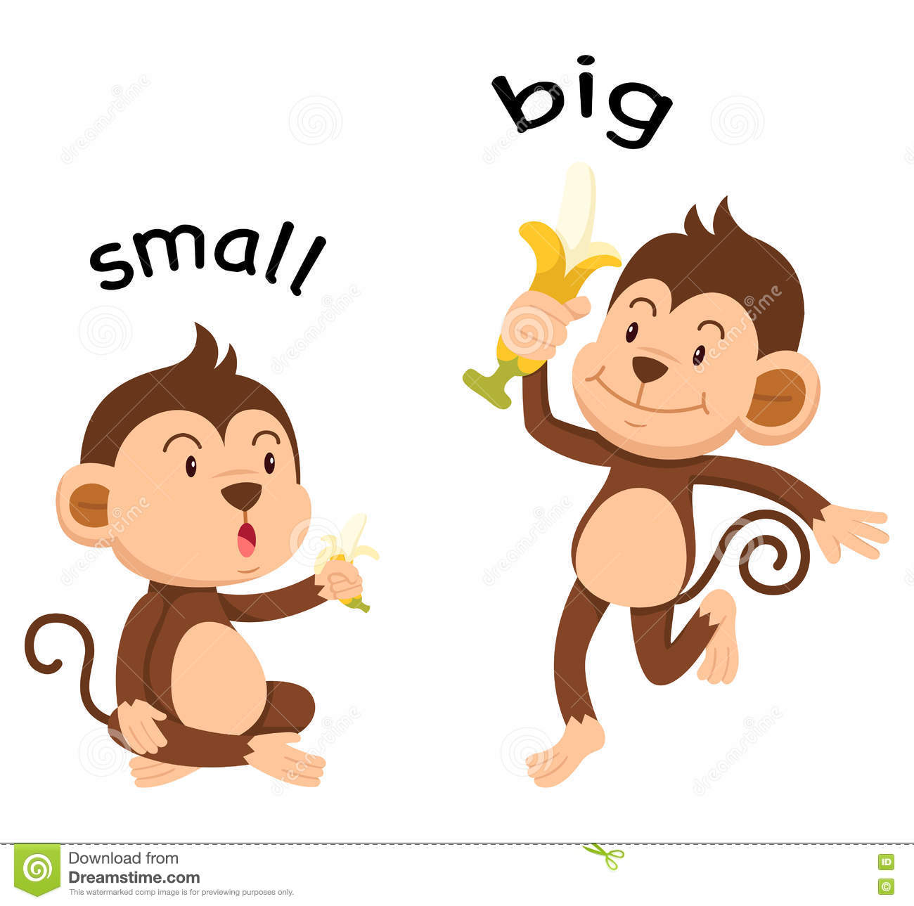 Opposite Words Small And Big Stock Vector