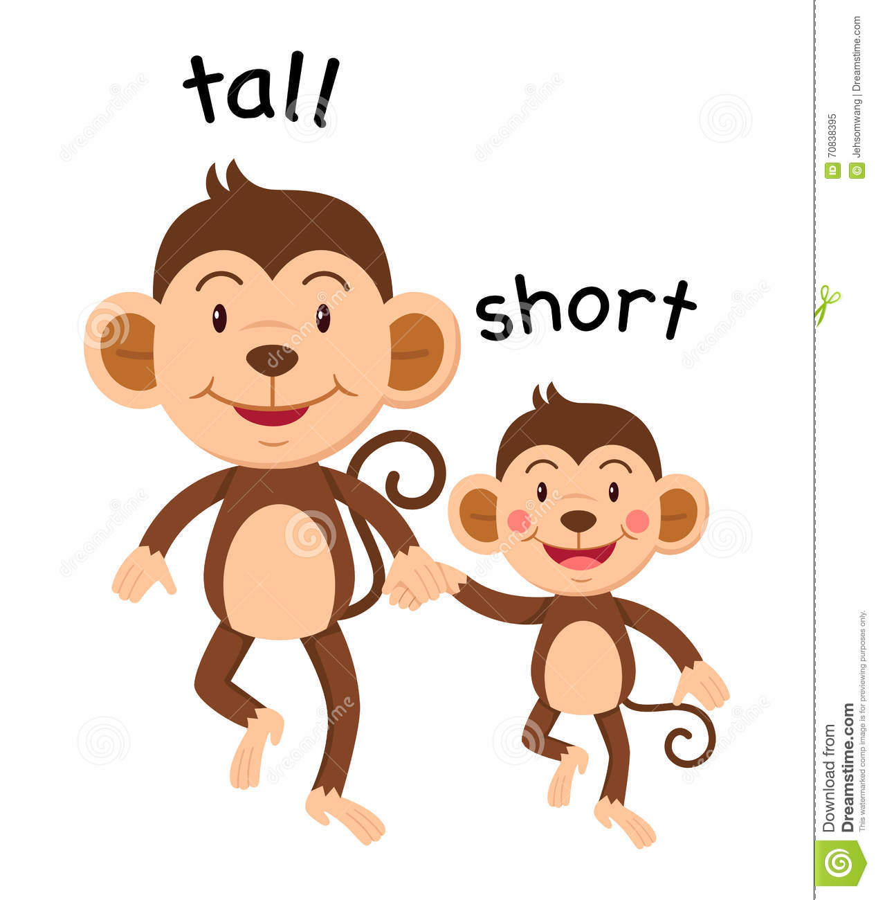 Opposite Words Tall And Short Stock Vector