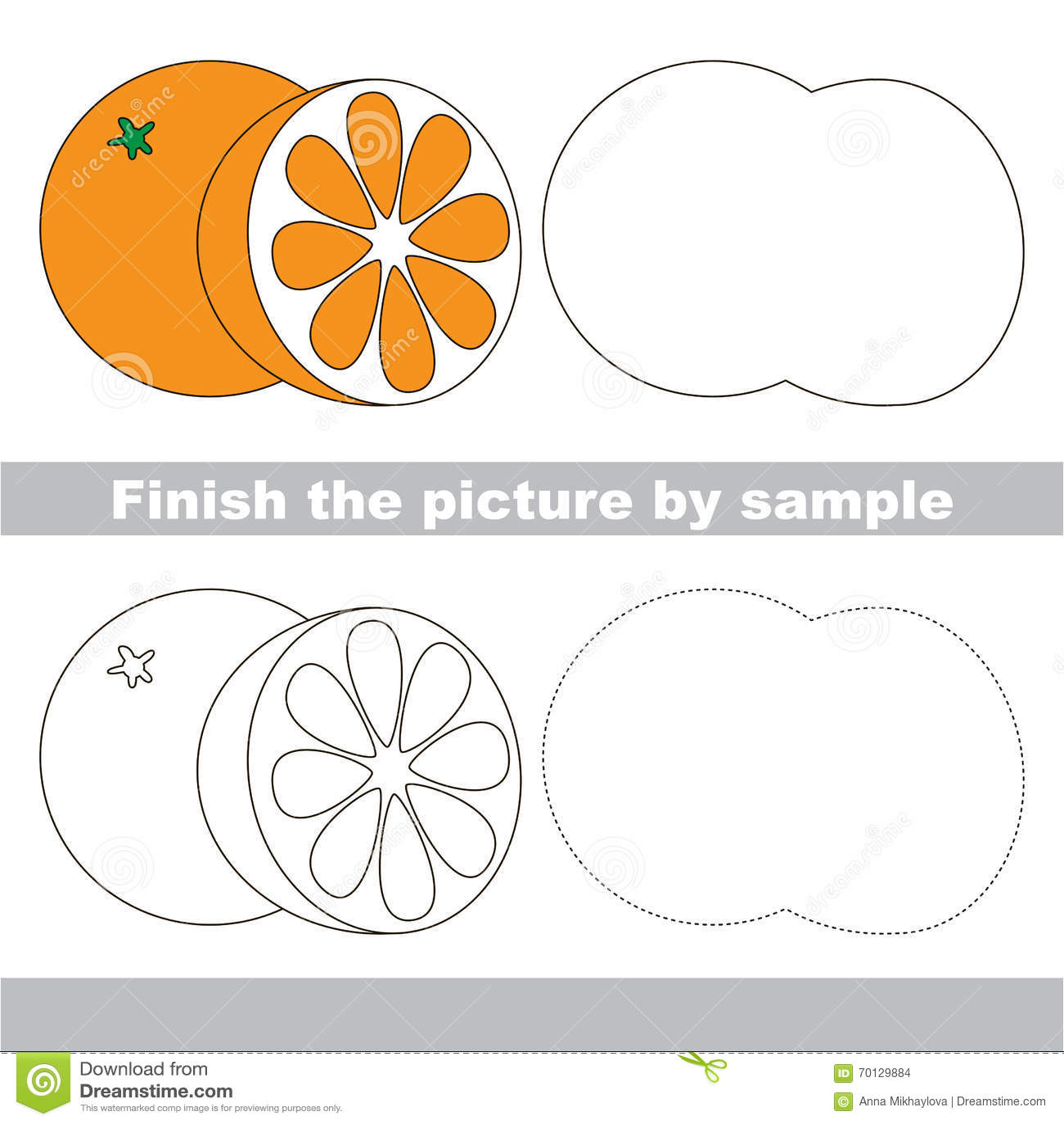 Orange Drawing Worksheet Stock Vector Illustration Of