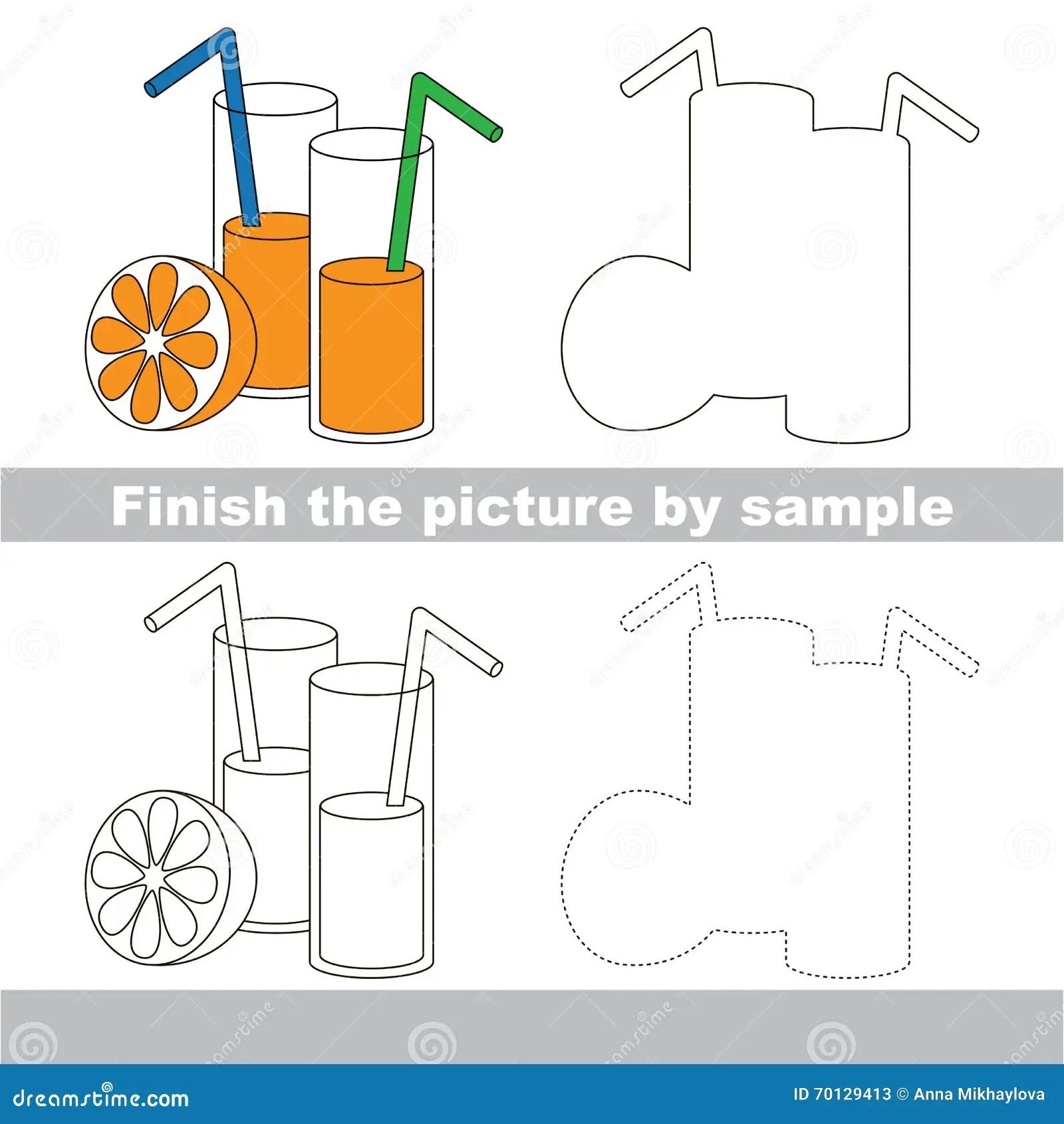 Orange Juice Drawing Worksheet Stock Vector