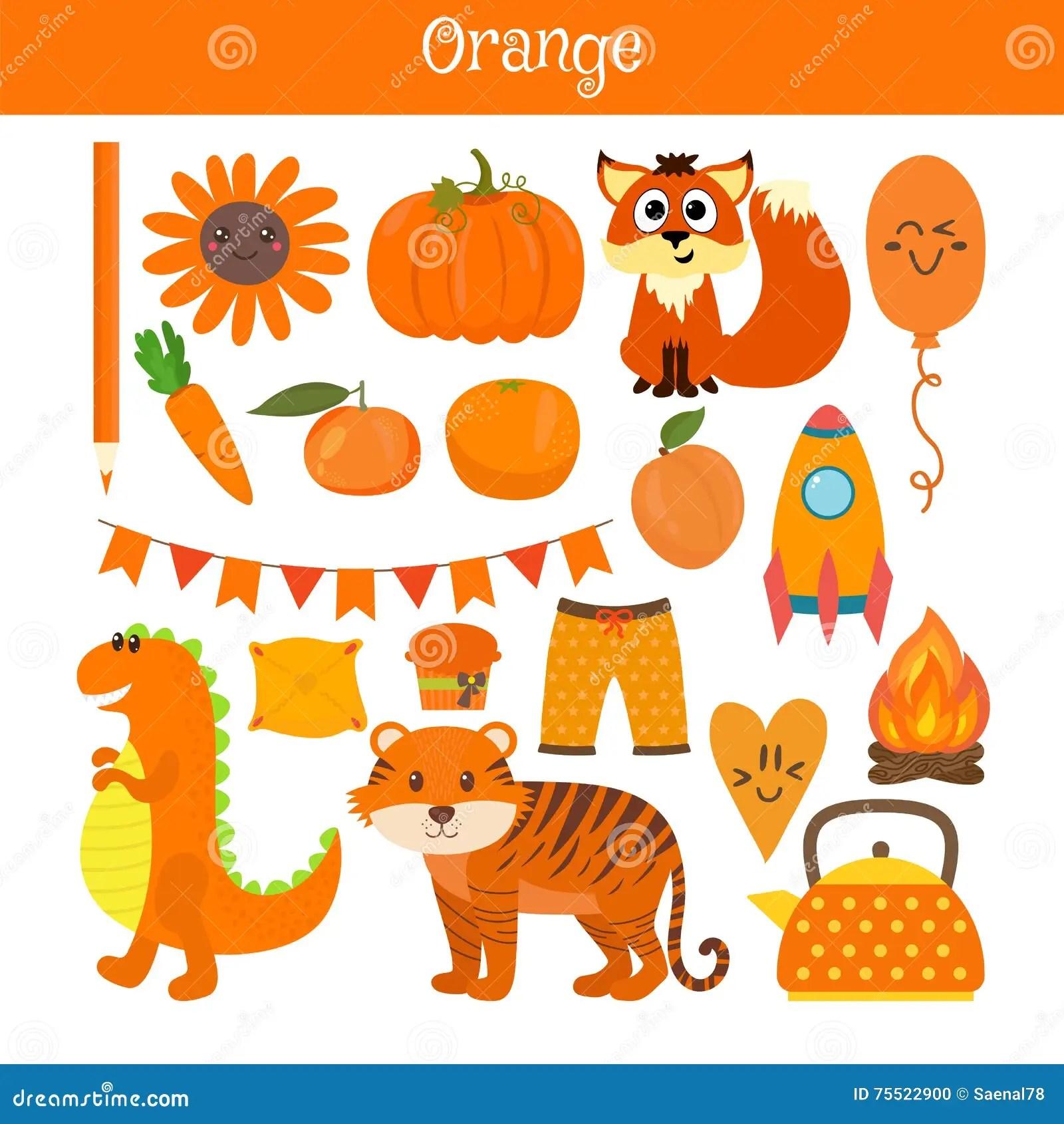 Orange Learn The Color Education Set Illustration Of