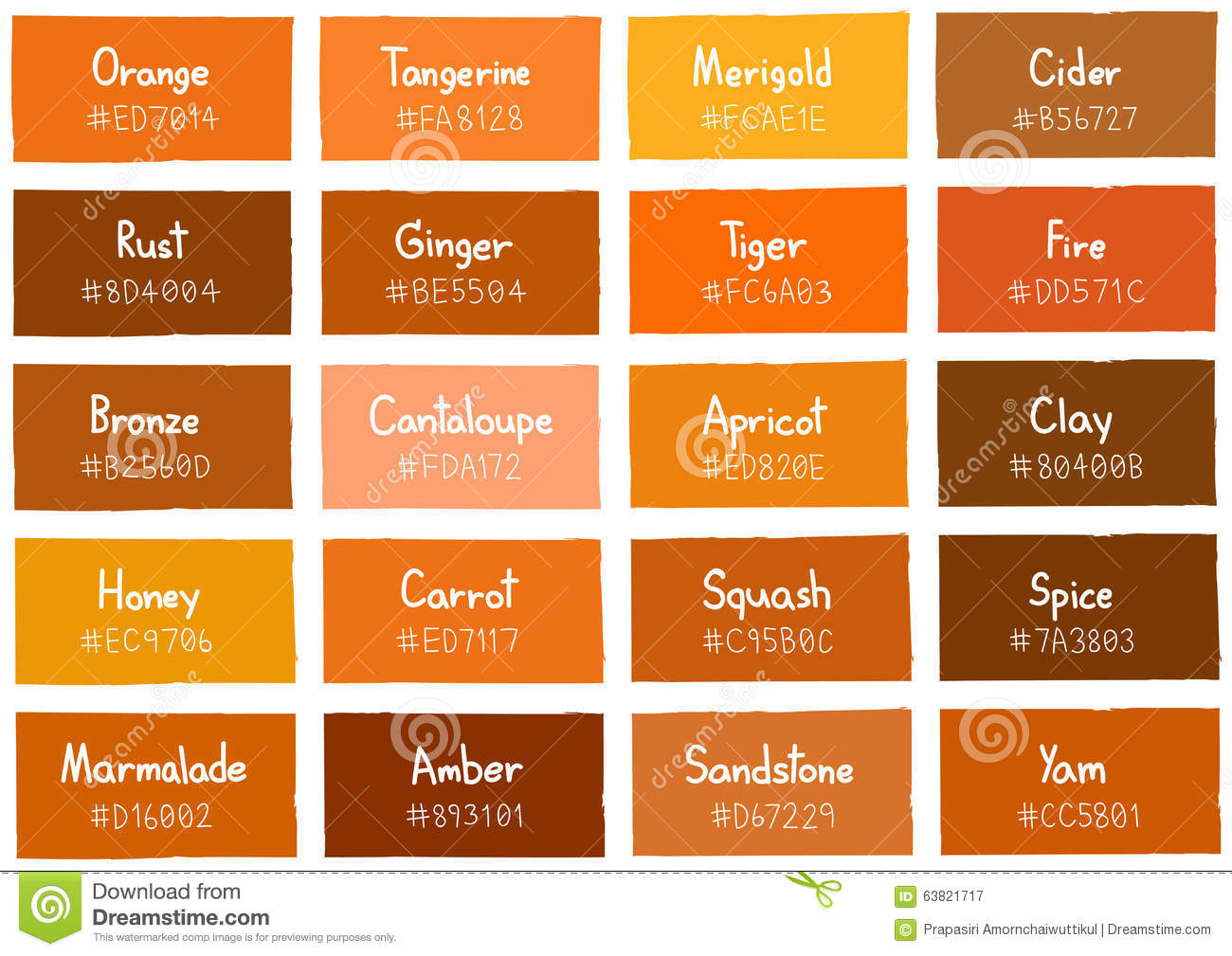 Orange Tone Color Shade Background With Code And Name