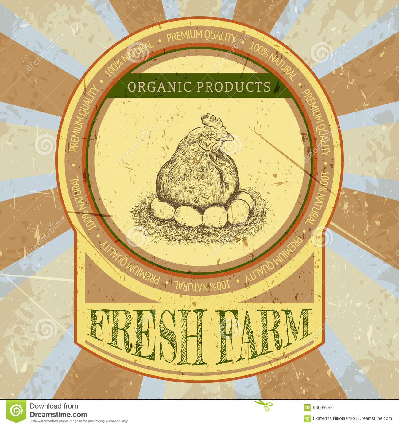 Organic Farm Vintage Label With Chicken And Eggs Stock
