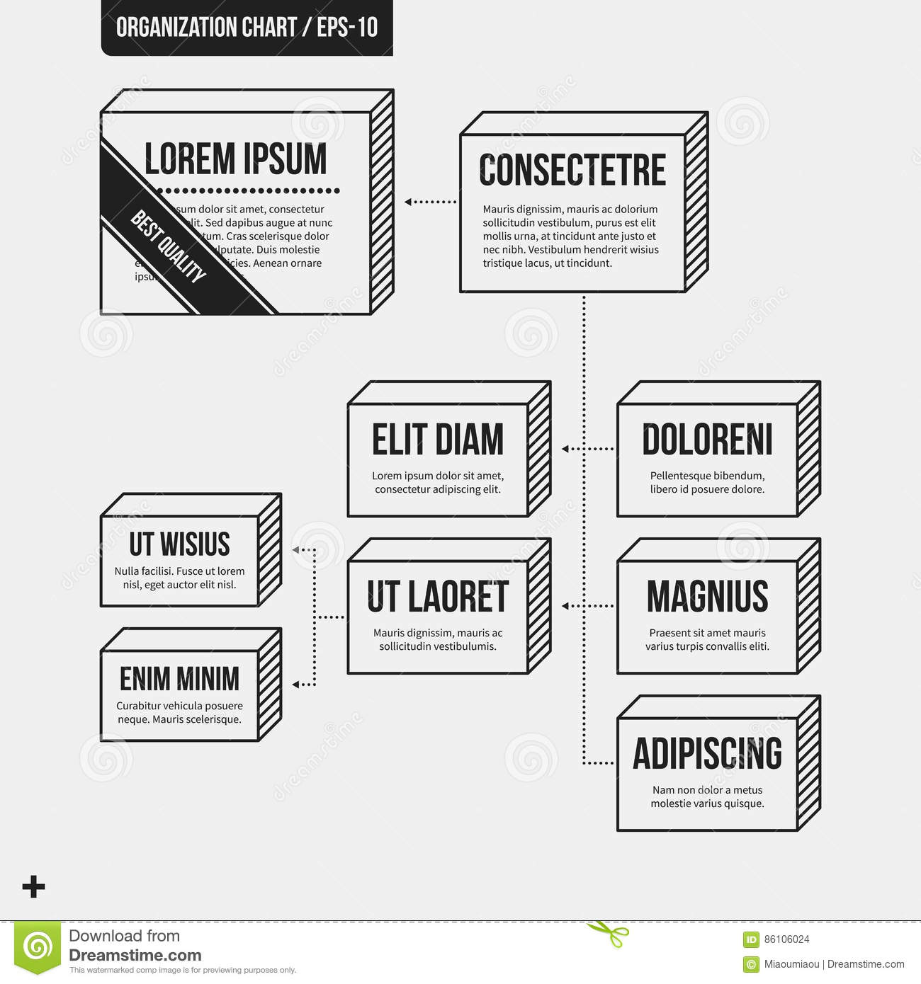 Organization Chart Template With Geometric Elements Stock