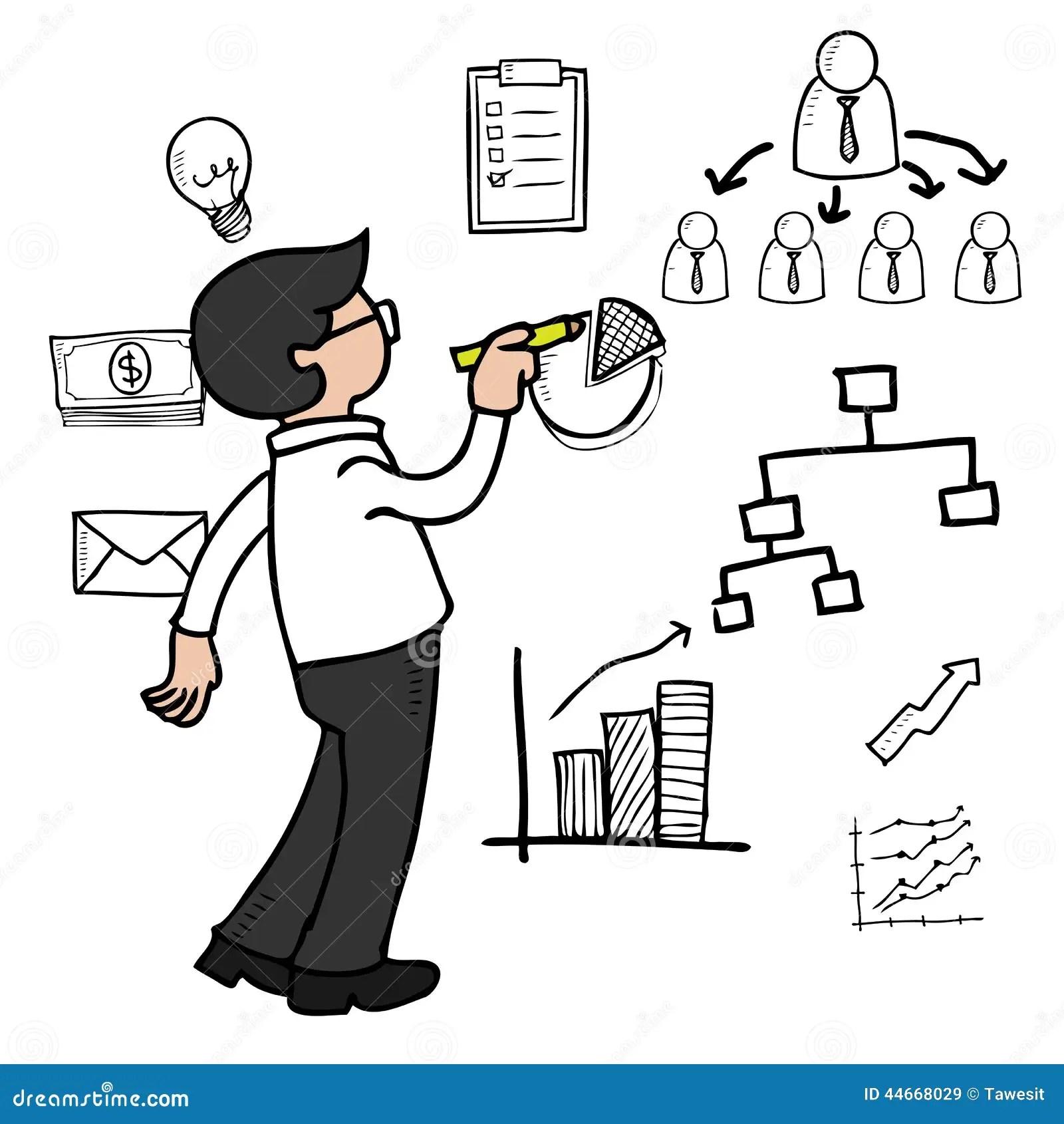 Organograma Do Desenho Do Homem Ilustracao Do Vetor