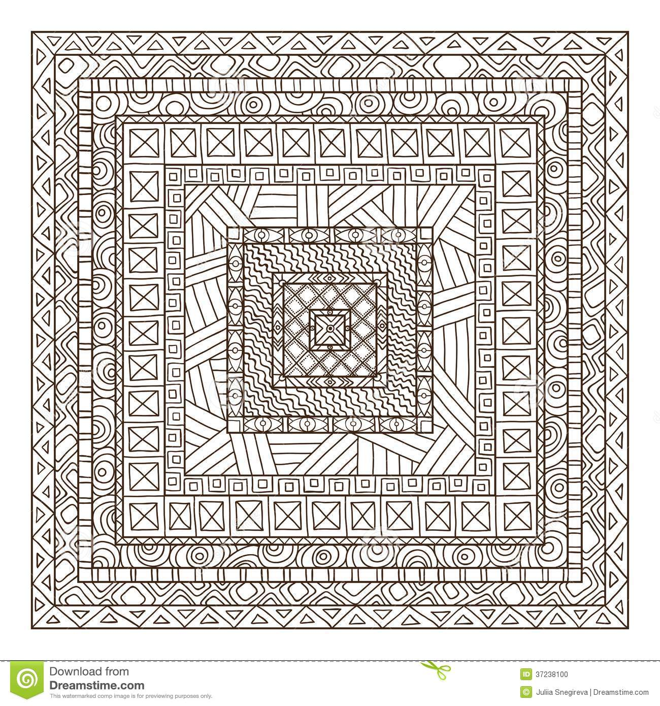 Original Drawing Tribal Doddle Rectangle Stock Photo
