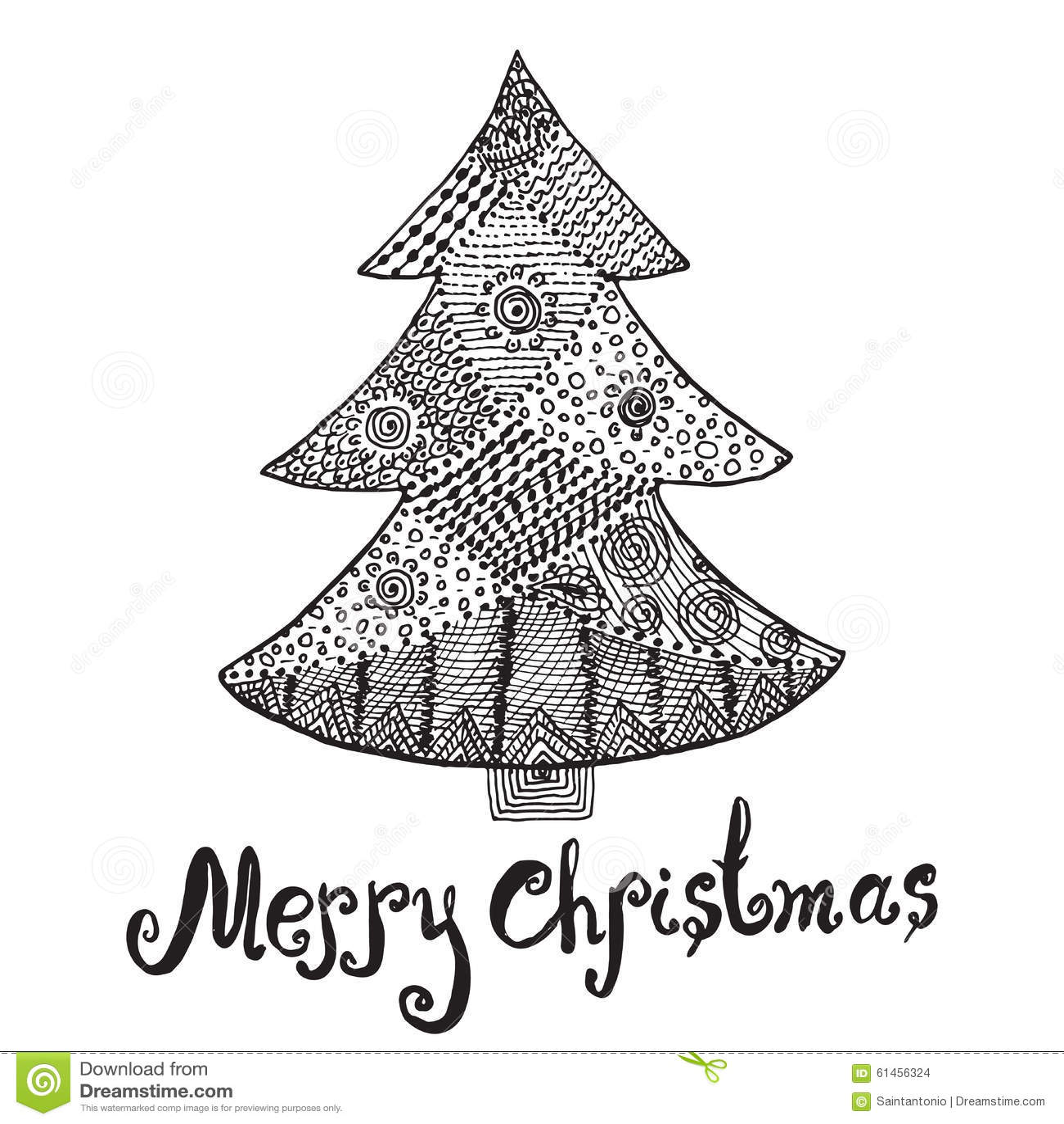 Ornamental Hand Drawn Sketch Of Christmas Tree In