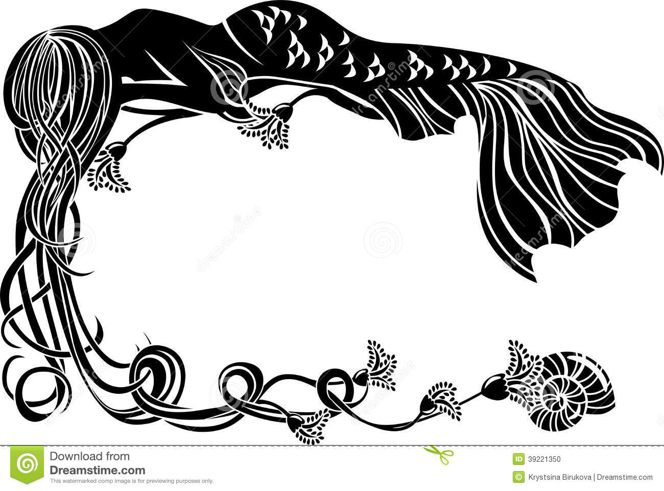 Ornate Frame Sleeping Mermaid Stock Vector