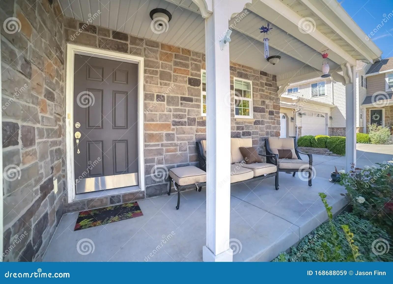 https www dreamstime com outdoor furniture entrance patio near sunset outdoor furniture entrance patio to urban home wooden front door image168688059