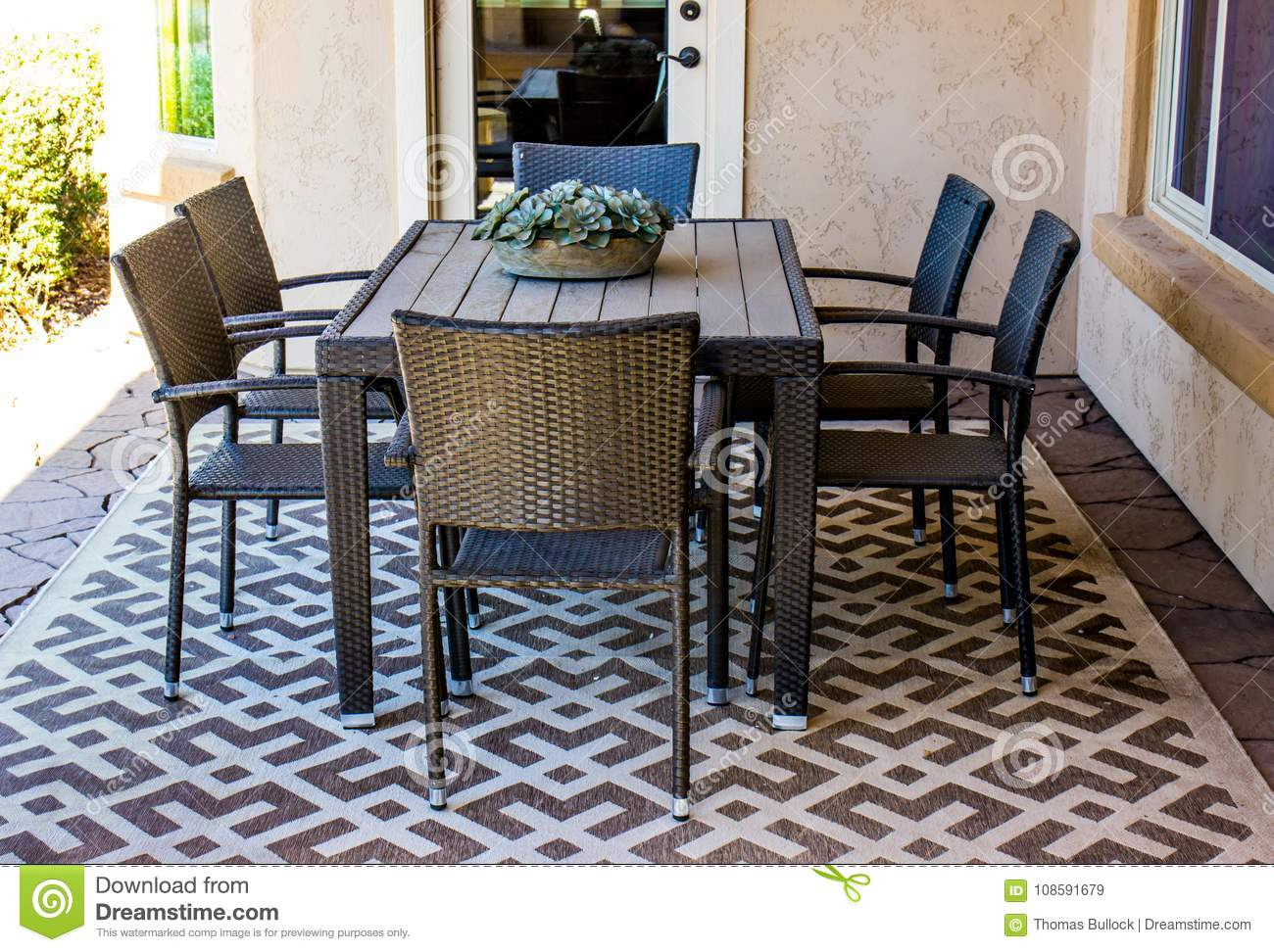 https www dreamstime com outdoor patio furniture set rectangular outdoor patio table chairs rug outside patio image108591679
