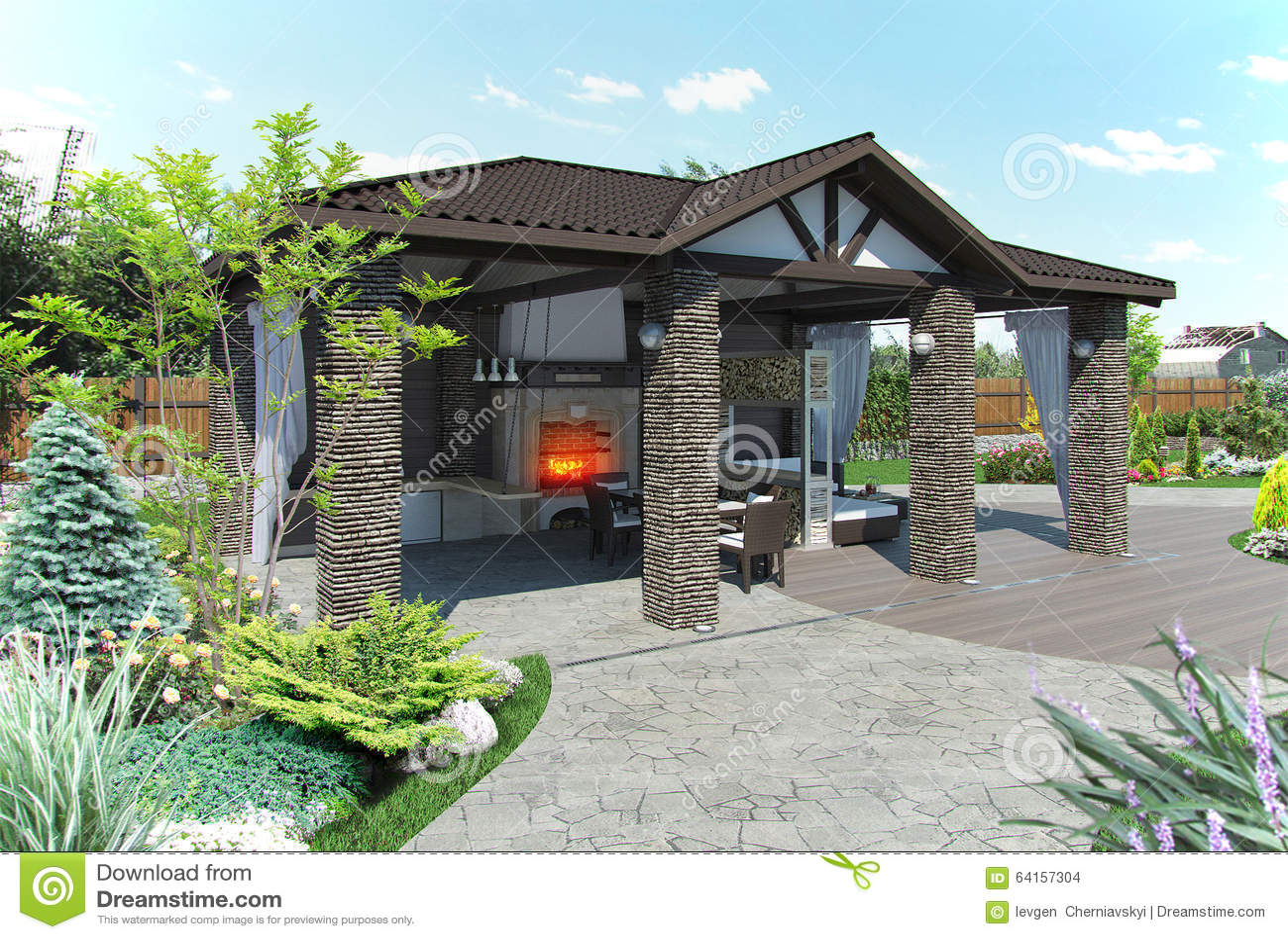 Outdoor Patio Garden Pavilion, 3d Render Stock ... on Outdoor Patio Pavilion id=73207
