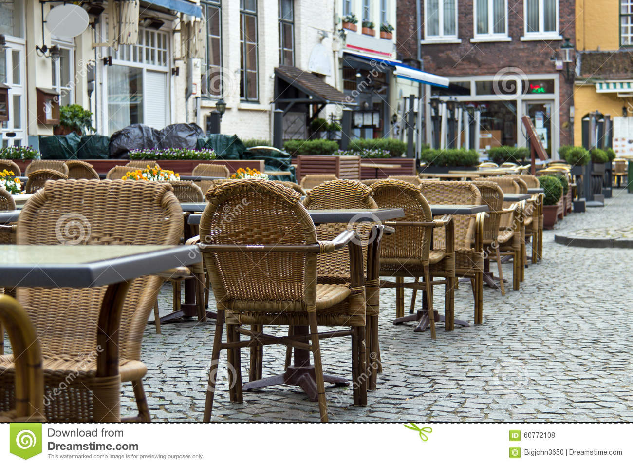outdoor patio tables and chairs at pubs and restaurants in the t stock photo image of town flanders 60772108