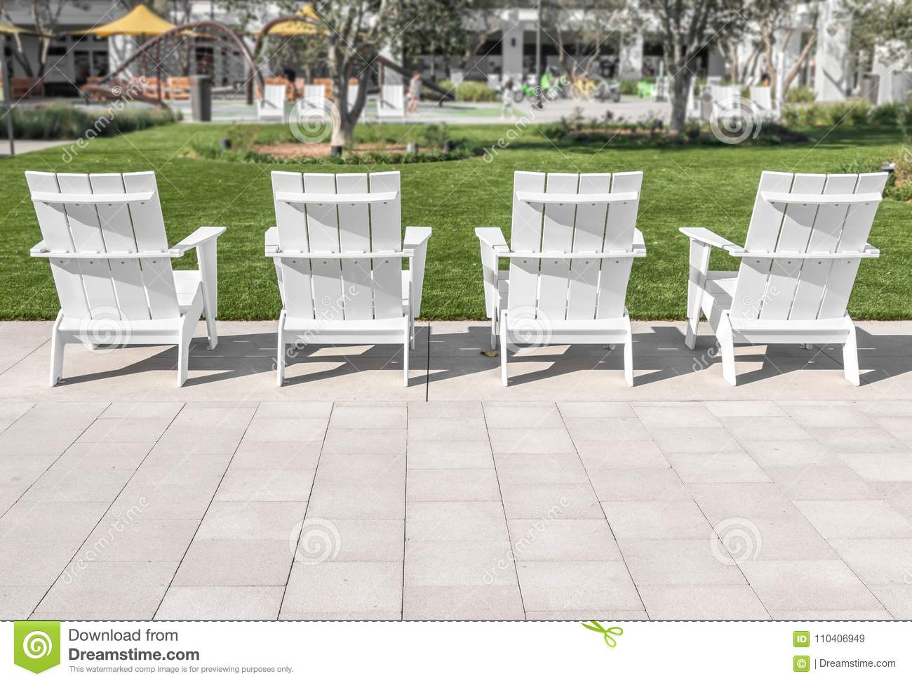 https www dreamstime com outdoor public relaxation play area blurred background grass trees white wooden patio chairs stone floor tile image110406949