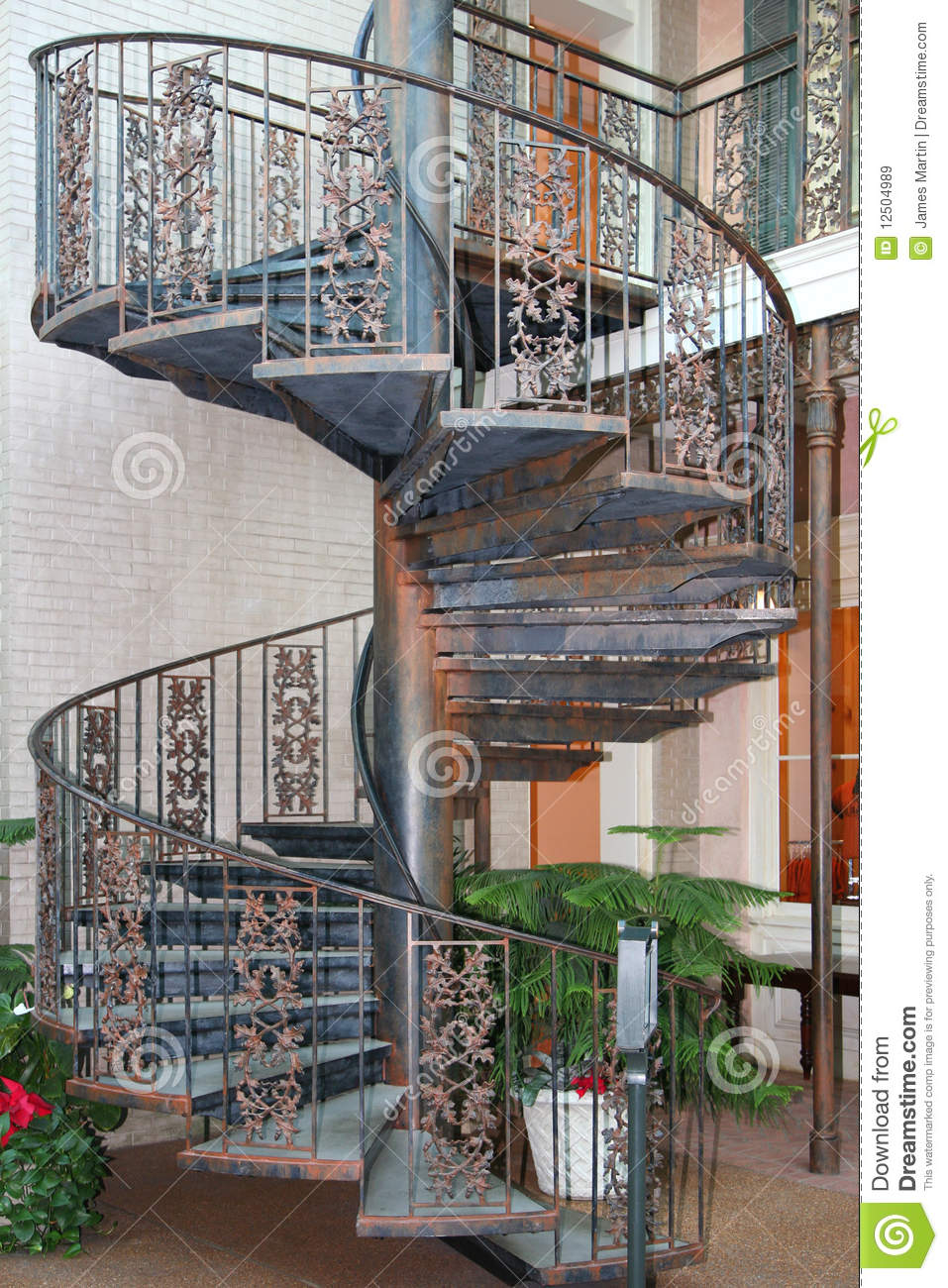 Outdoor Spiral Staircase Stock Image Image Of House 12504989