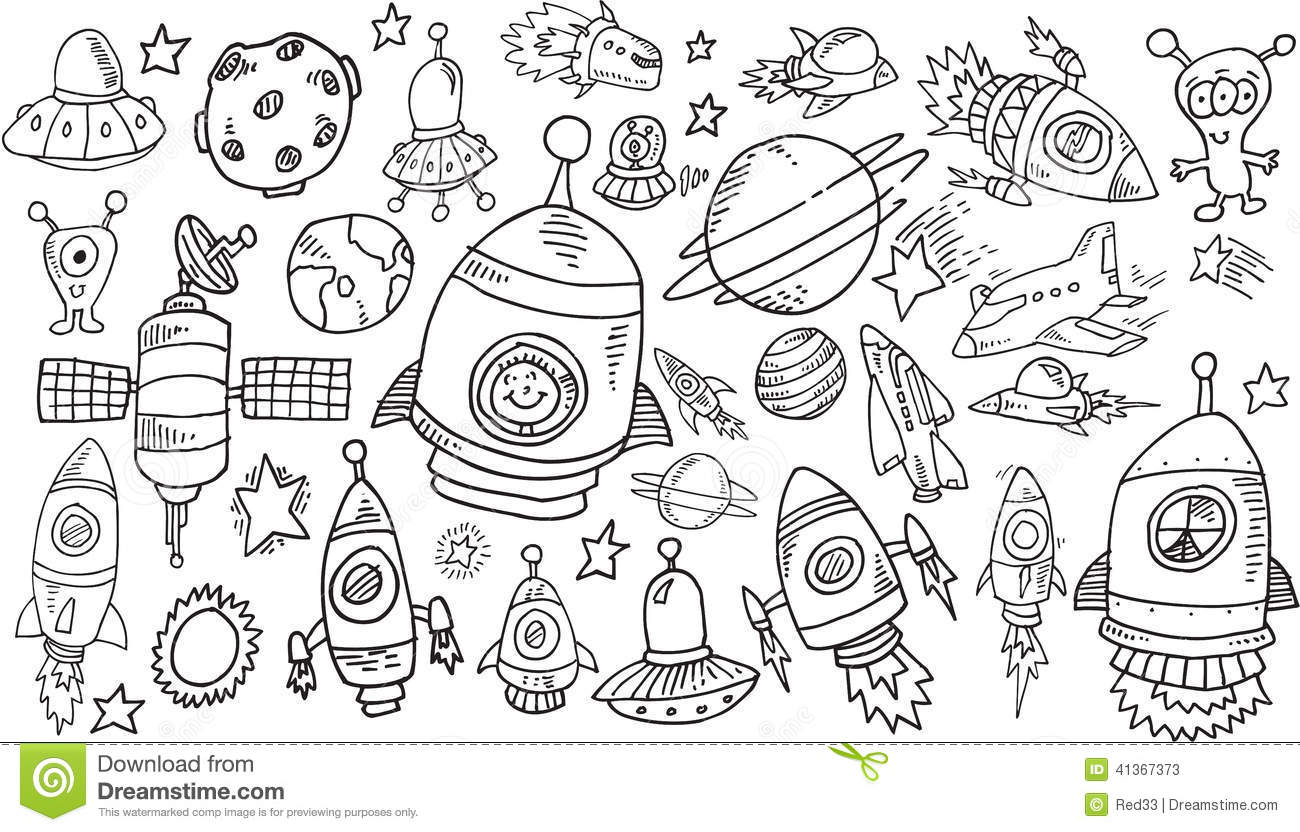 Outer Space Sketch Doodle Set Stock Vector