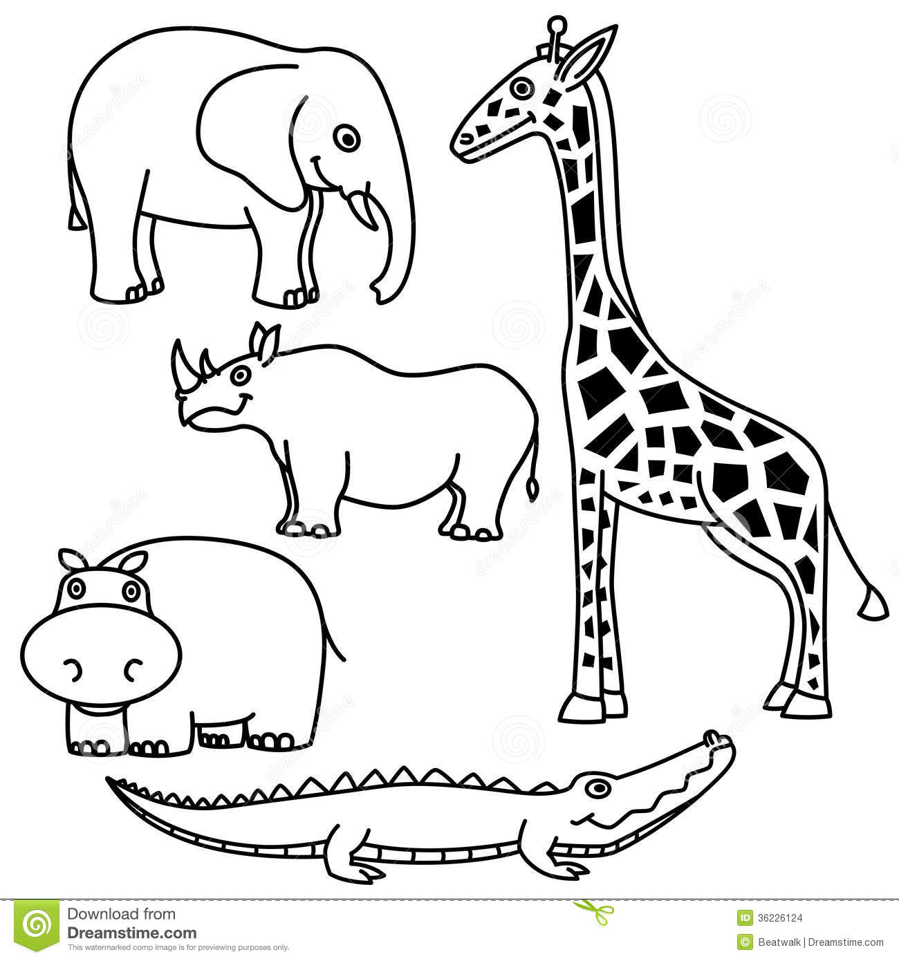 Outline Animals Set Stock Images