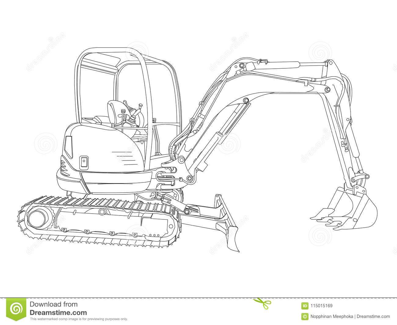 The Sketch Of A Hydraulic Cylinder Cartoon Vector