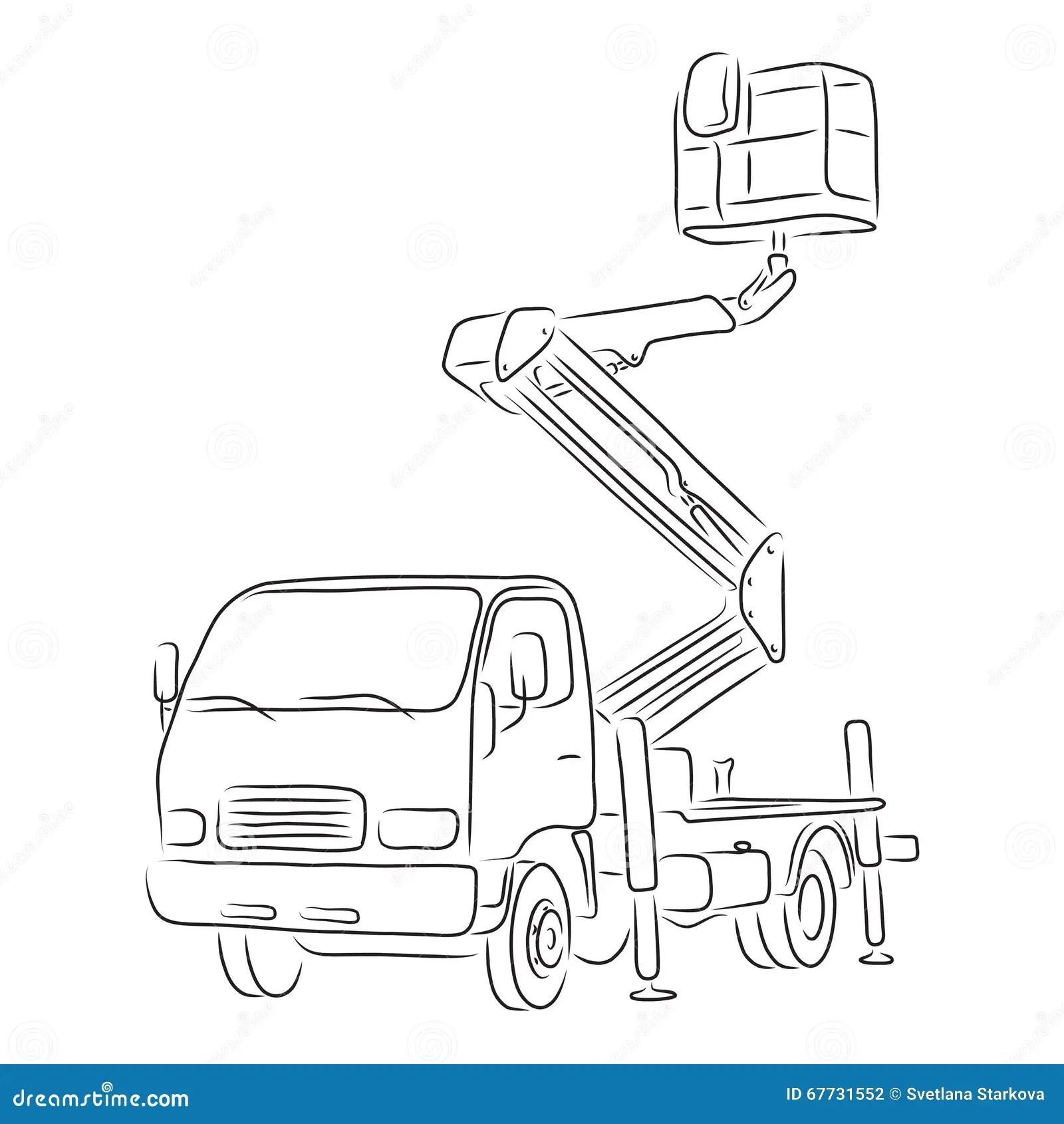 Outline Of Bucket Truck Vector Illustration Stock Vector