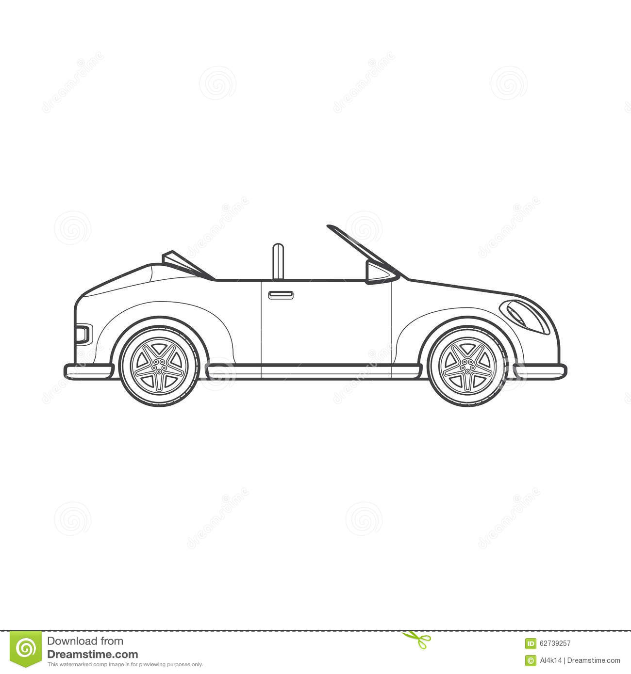 Outline Cabriolet Roadster Car Body Style Illustration