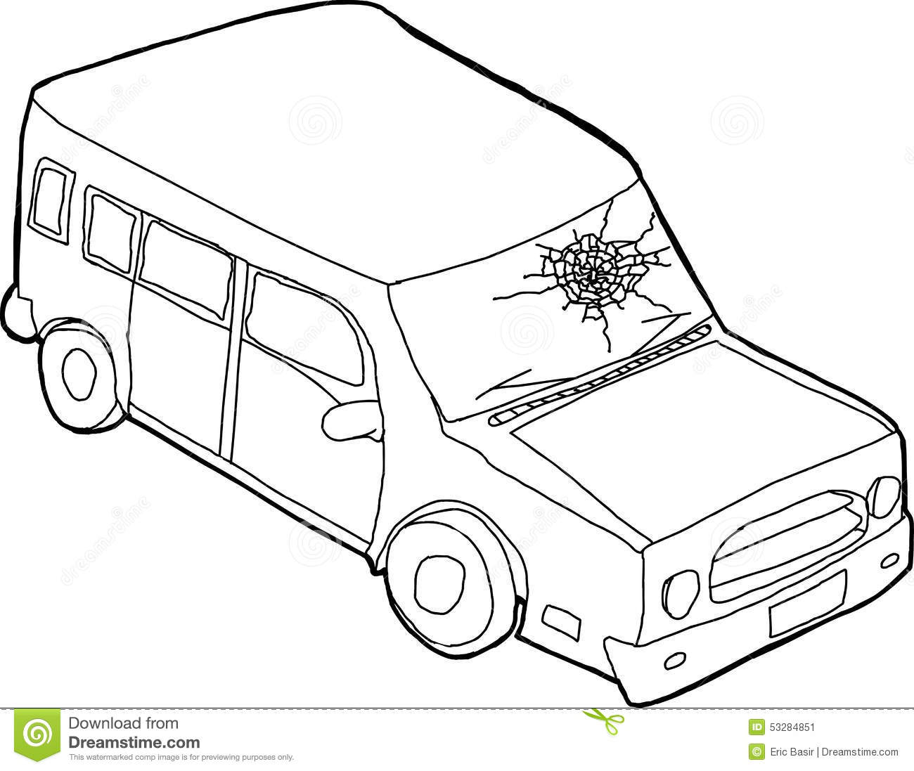 Outline Of Car With Fractured Window Stock Illustration