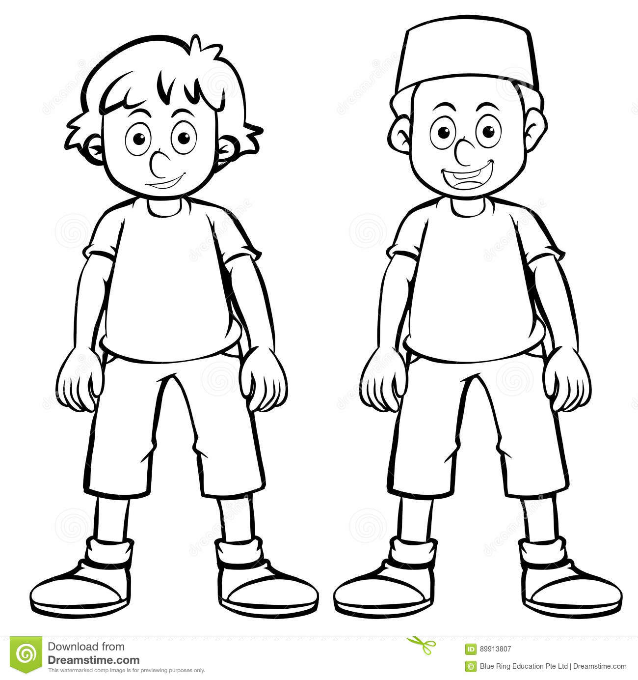 Outline Character For Two Boys Stock Illustration