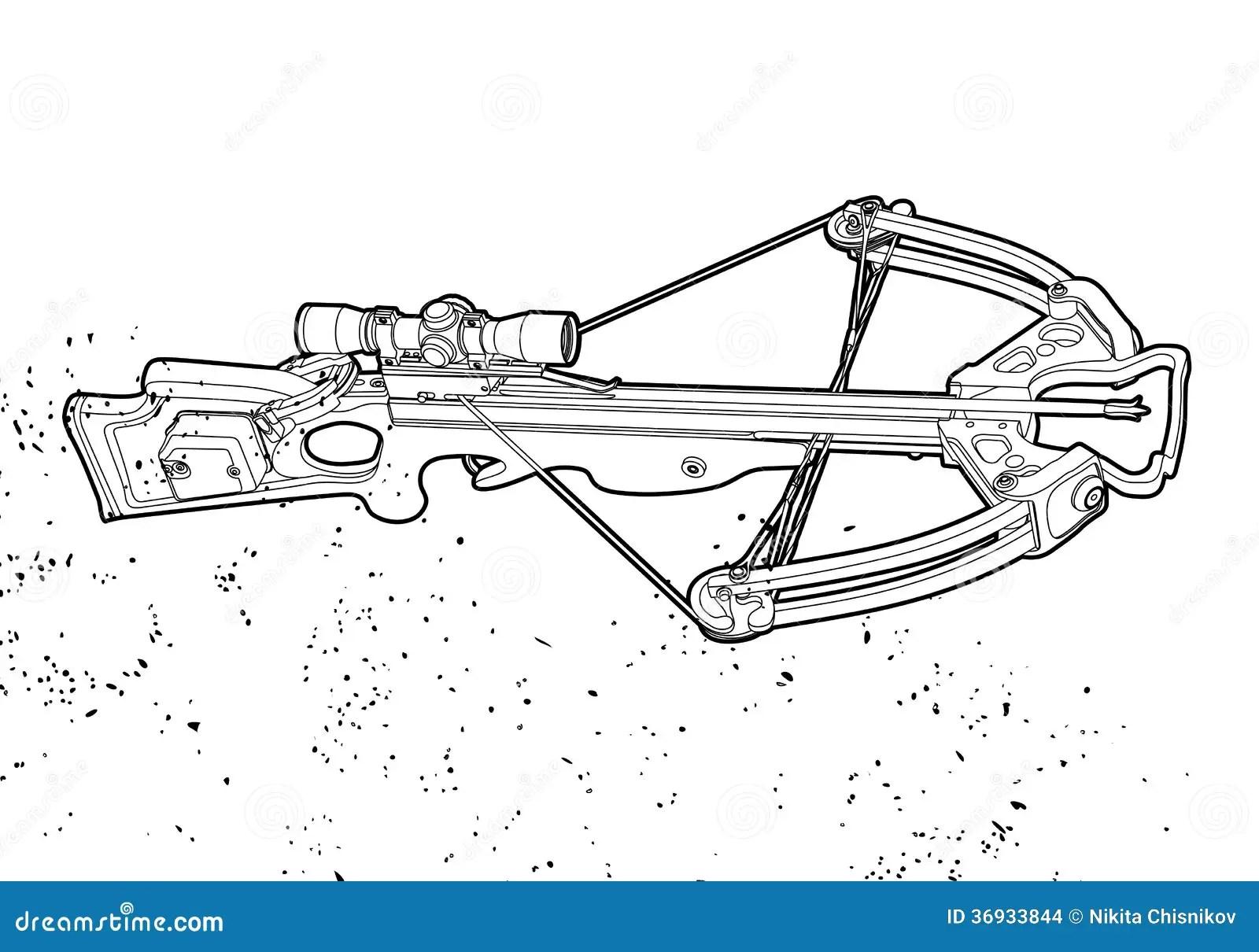 Outline Crossbow Stock Vector Illustration Of Cross
