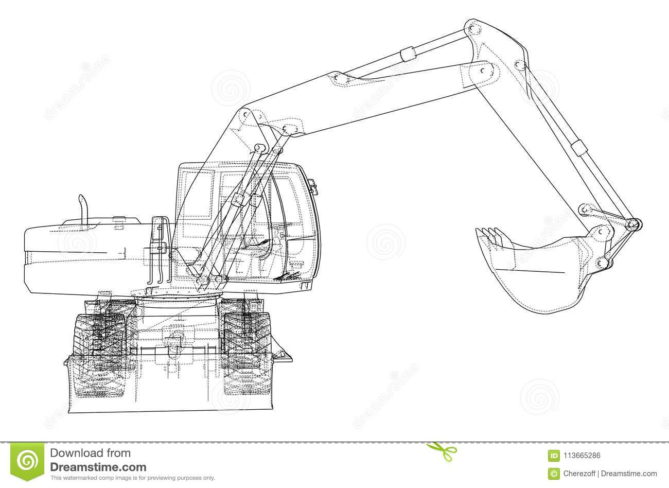 Outline Of Excavator Isolated On Background Stock