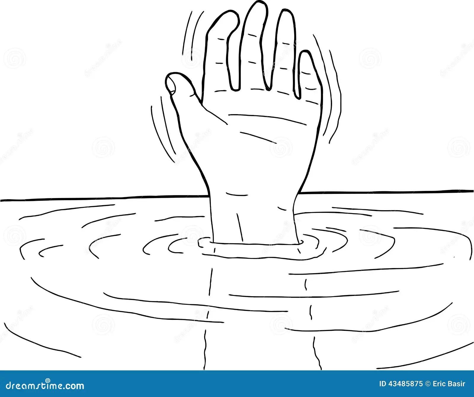 Outline Of Hand In Water Stock Vector
