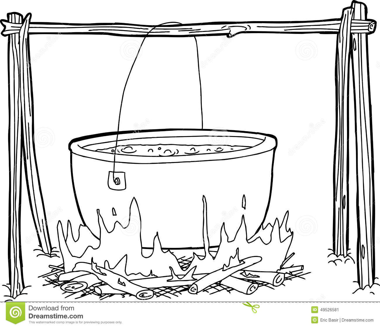 Outline Of Kettle Over Campfire Stock Illustration