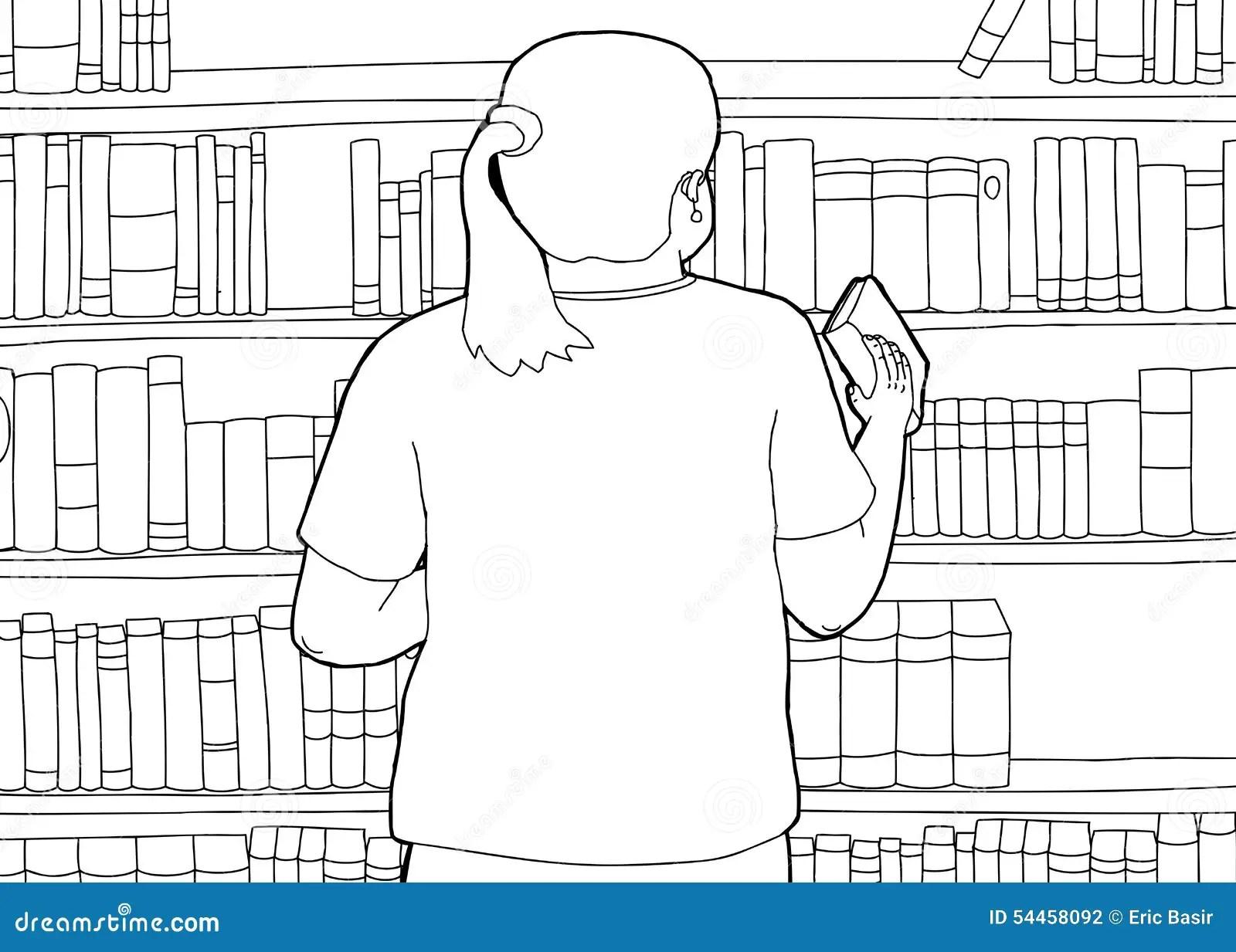 Outline Of Librarian Shelving Book Stock Illustration