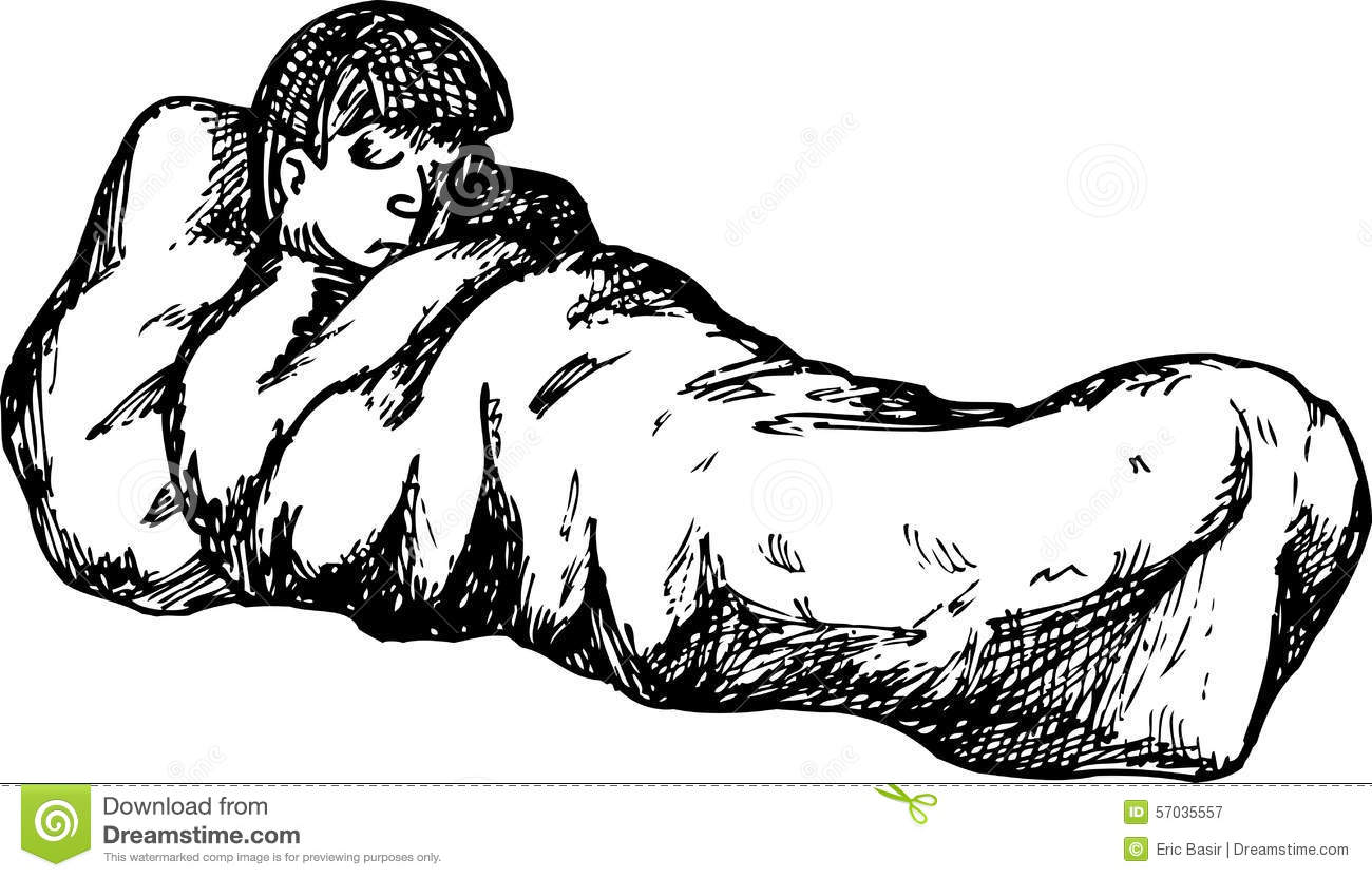 Outline Of Male In Sleeping Bag Stock Illustration