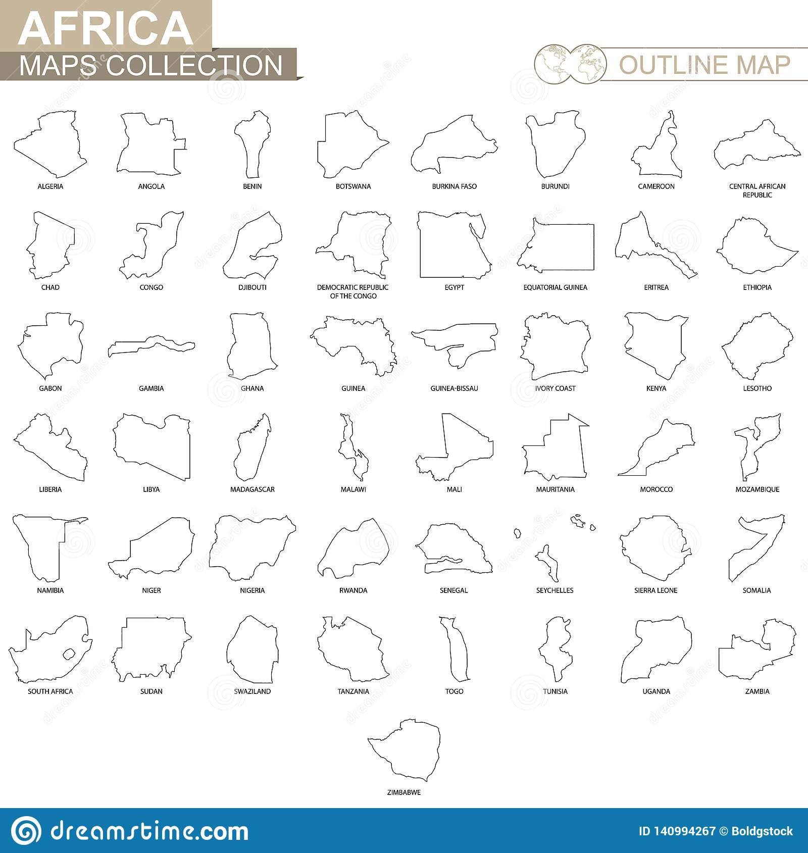 Outline Maps Of African Countries Collection Stock Vector Illustration Of Cartography Congo 140994267