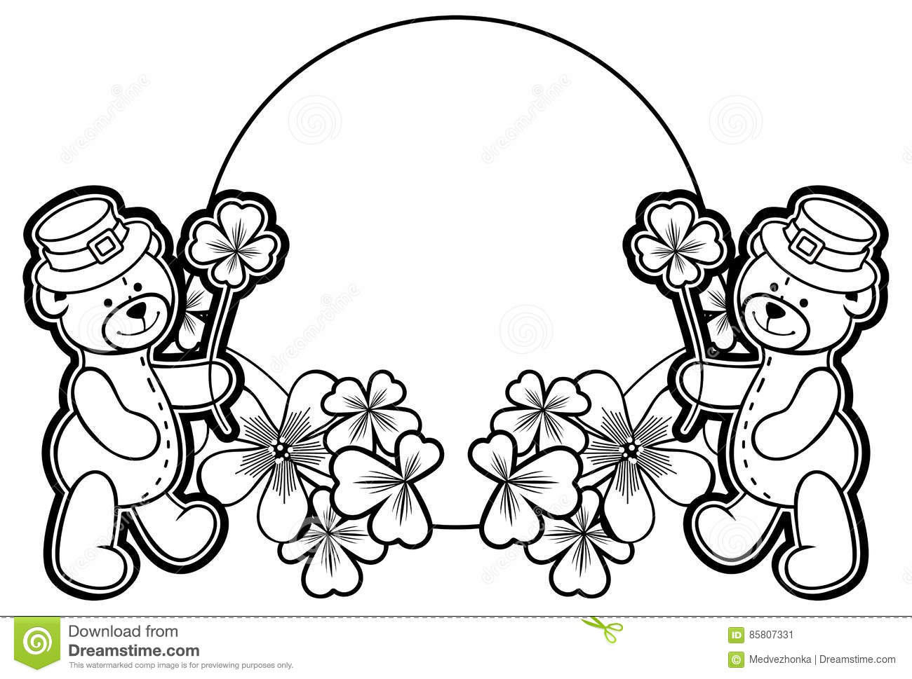 Outline Round Frame With Shamrock Contour And Teddy Bear