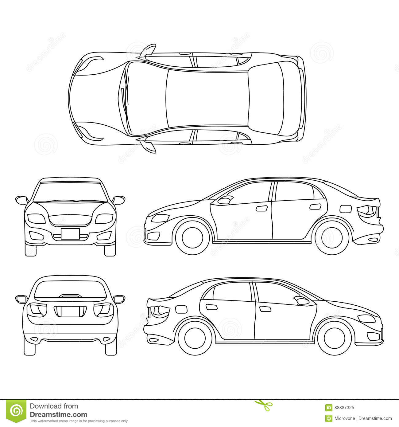 White Vector Car Sedan Template Cartoon Vector