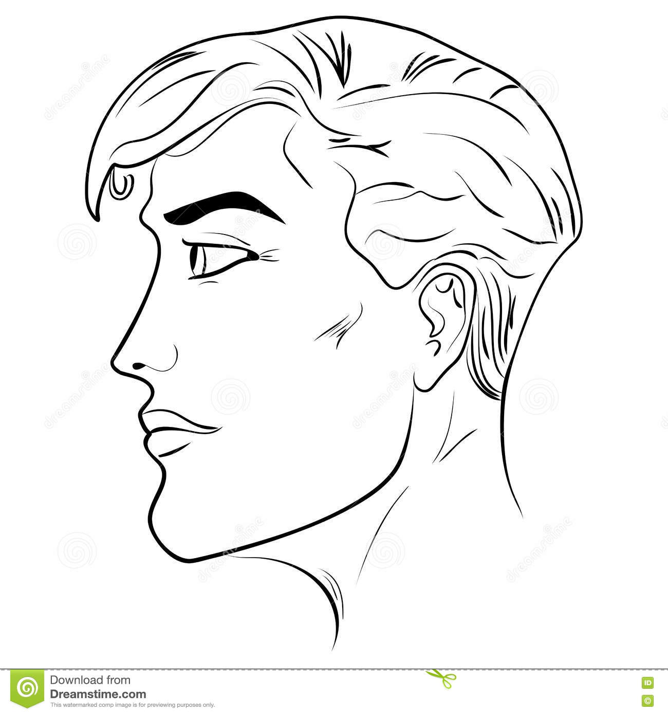 Outline Side Profile Of A Human Male Head Stock Vector