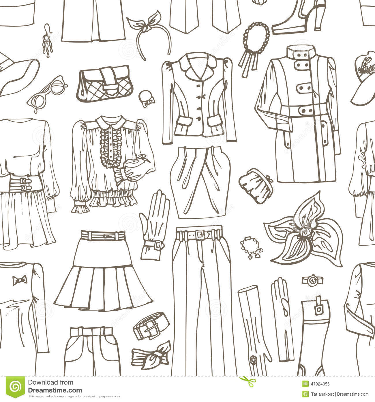 Outline Sketch Females Clothing Accessories Stock Vector
