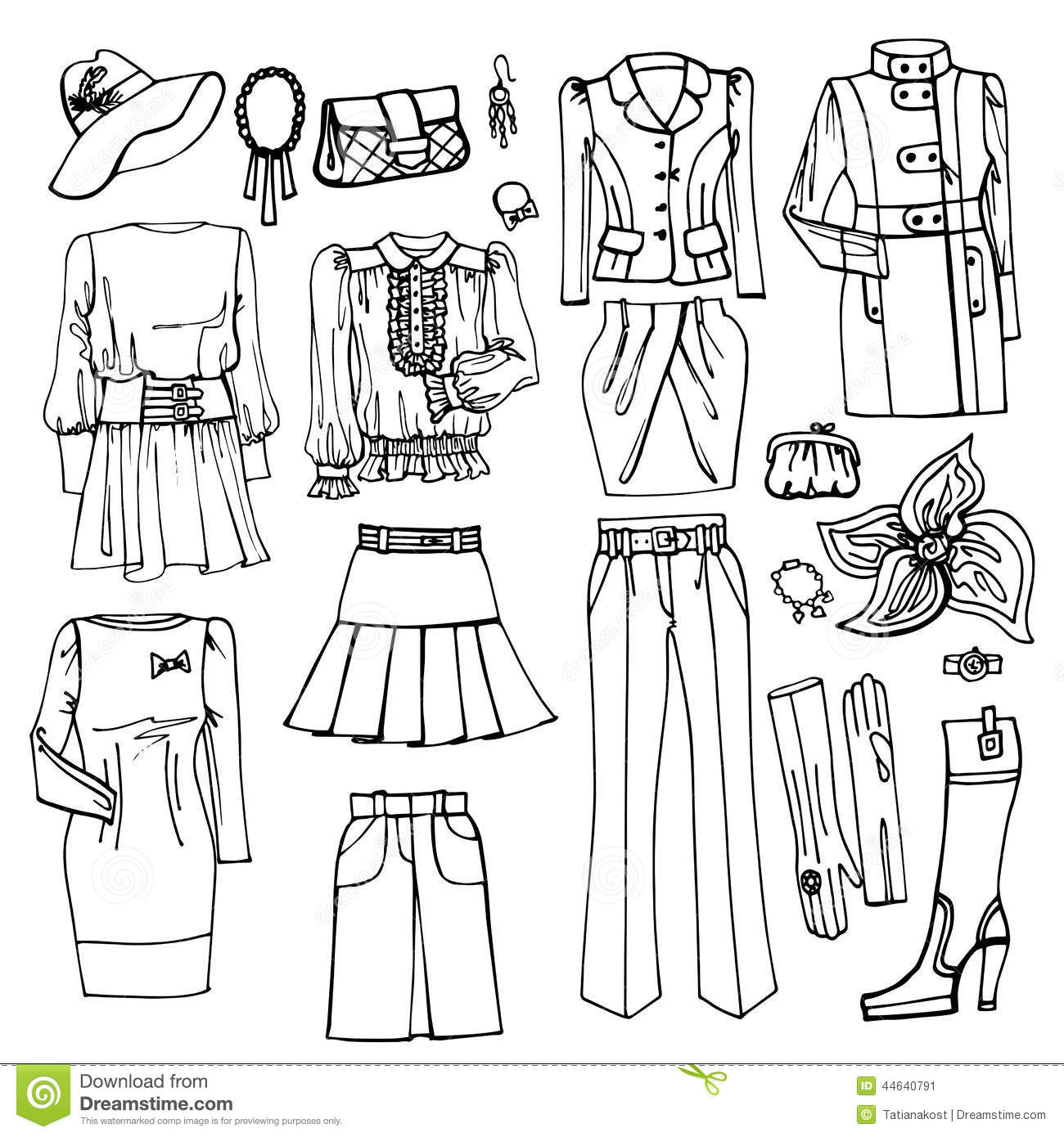 Outline Sketch Females Clothing And Accessories Stock