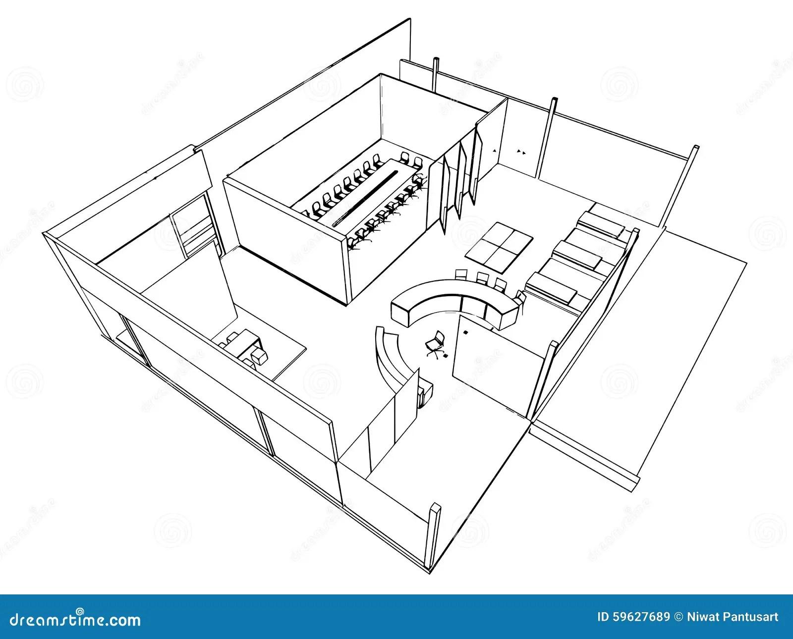 Outline Sketch Of A Interior Stock Vector