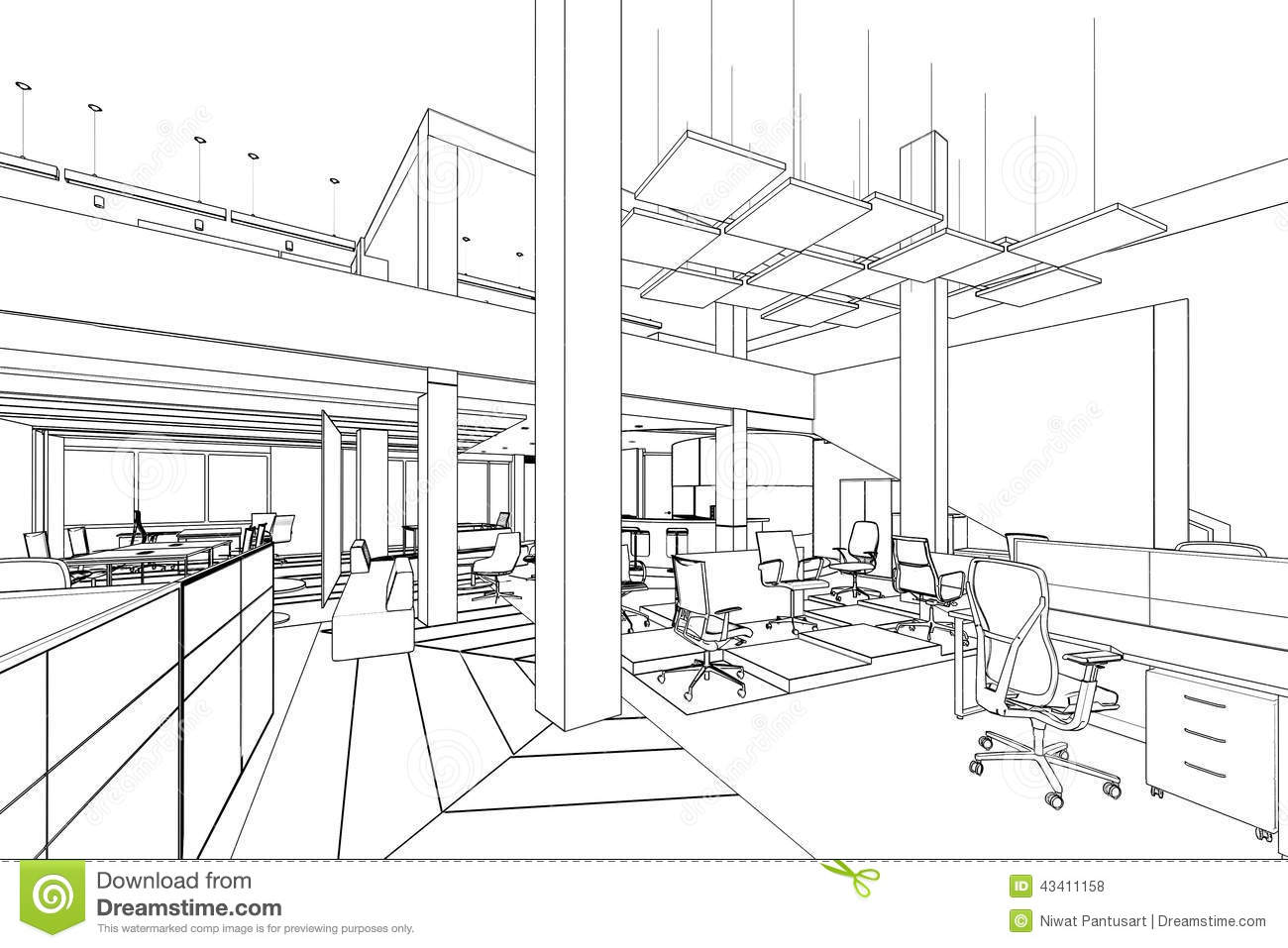 Outline Sketch Of A Interior Office Area Stock