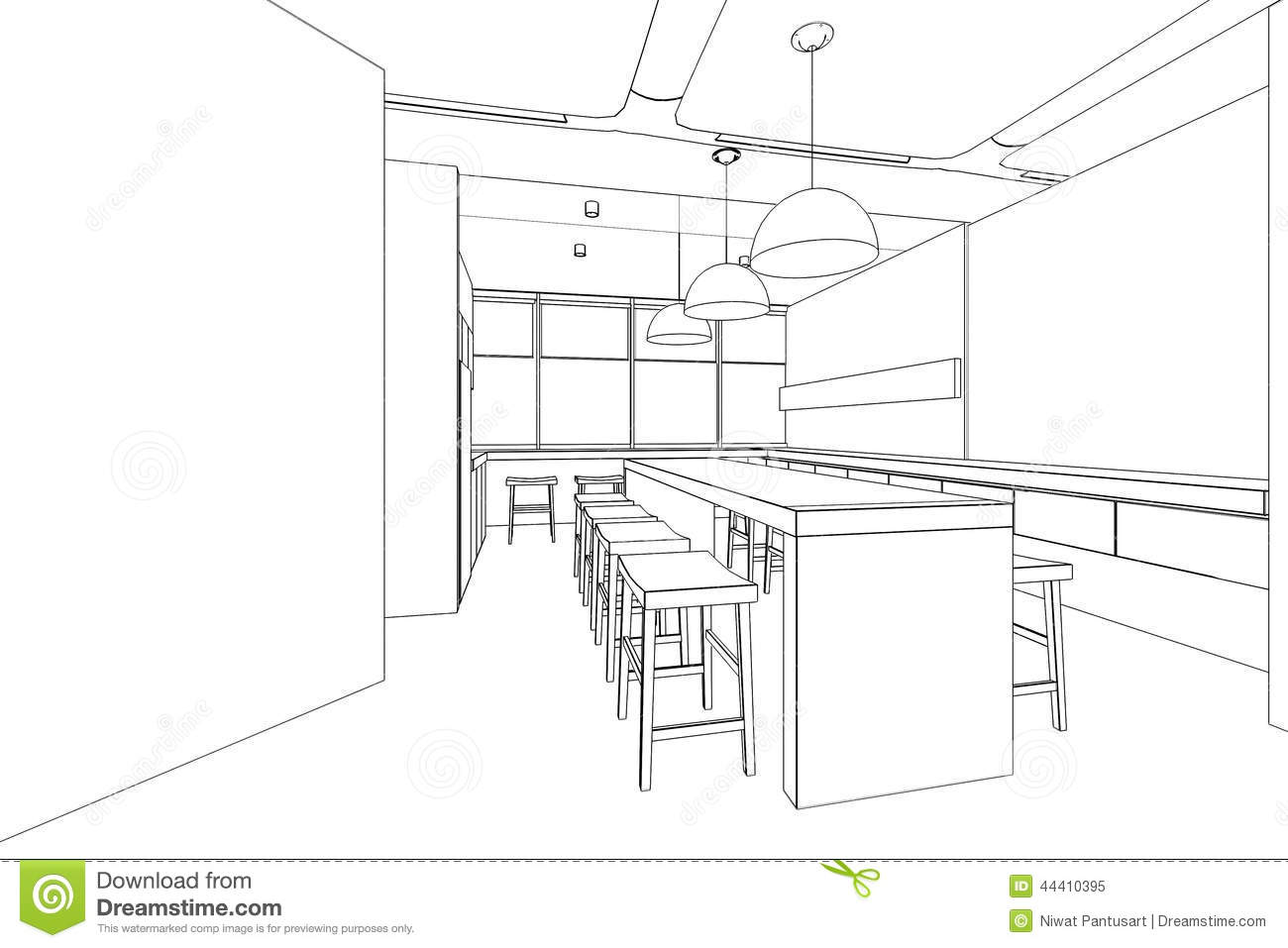 Outline Sketch Of A Interior Pantry Area Stock Illustration