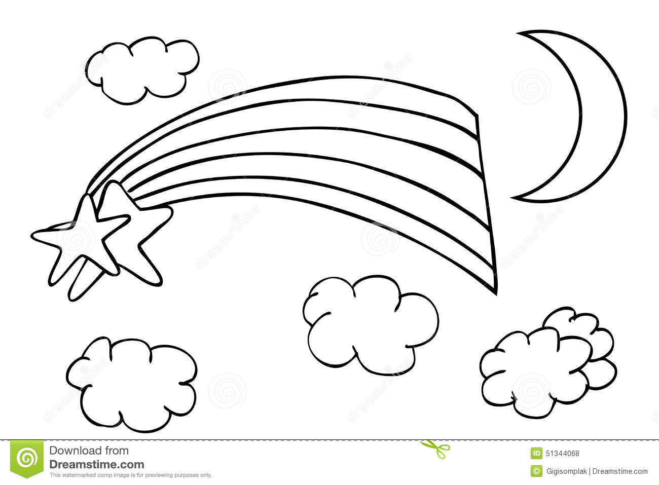 Outline Sketch Rainbow And Cloud Stock Vector