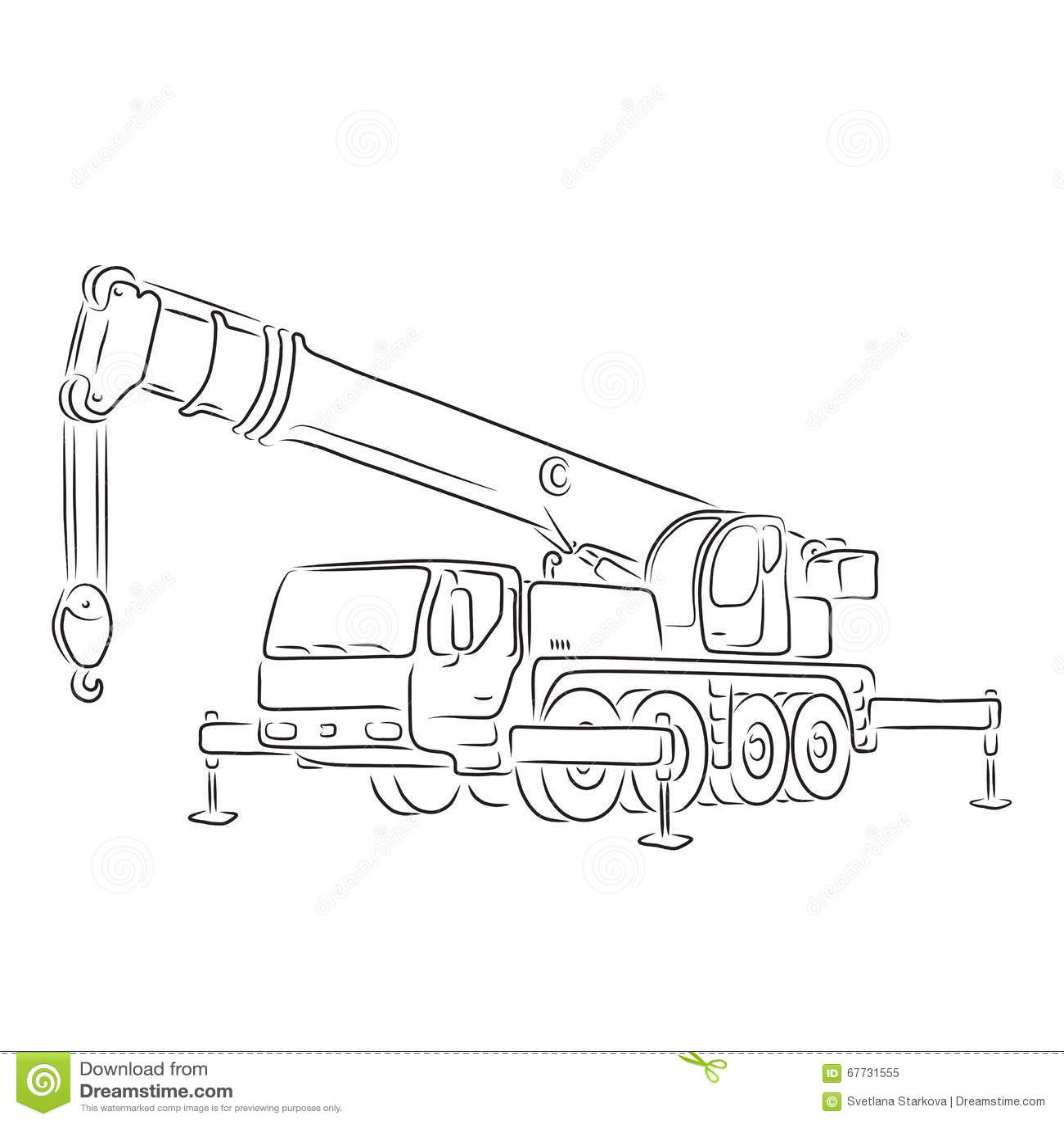 Outline Of Truck Mounted Crane Vector Illustration Stock