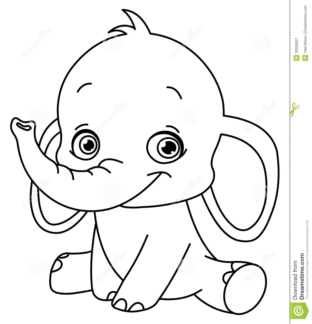 Outlined Baby Elephant Stock Vector Illustration Of Black