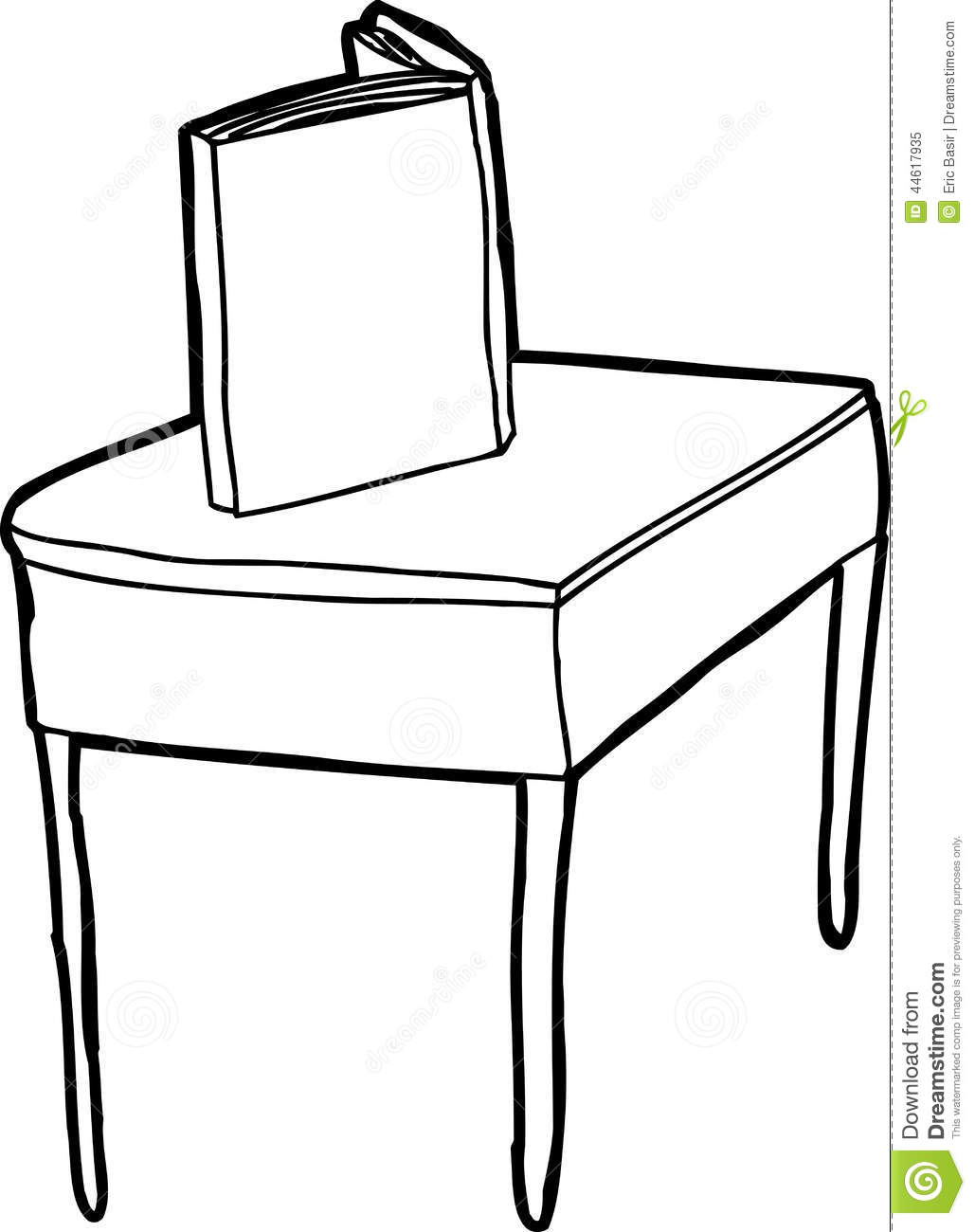 Outlined Book On Desk Stock Vector