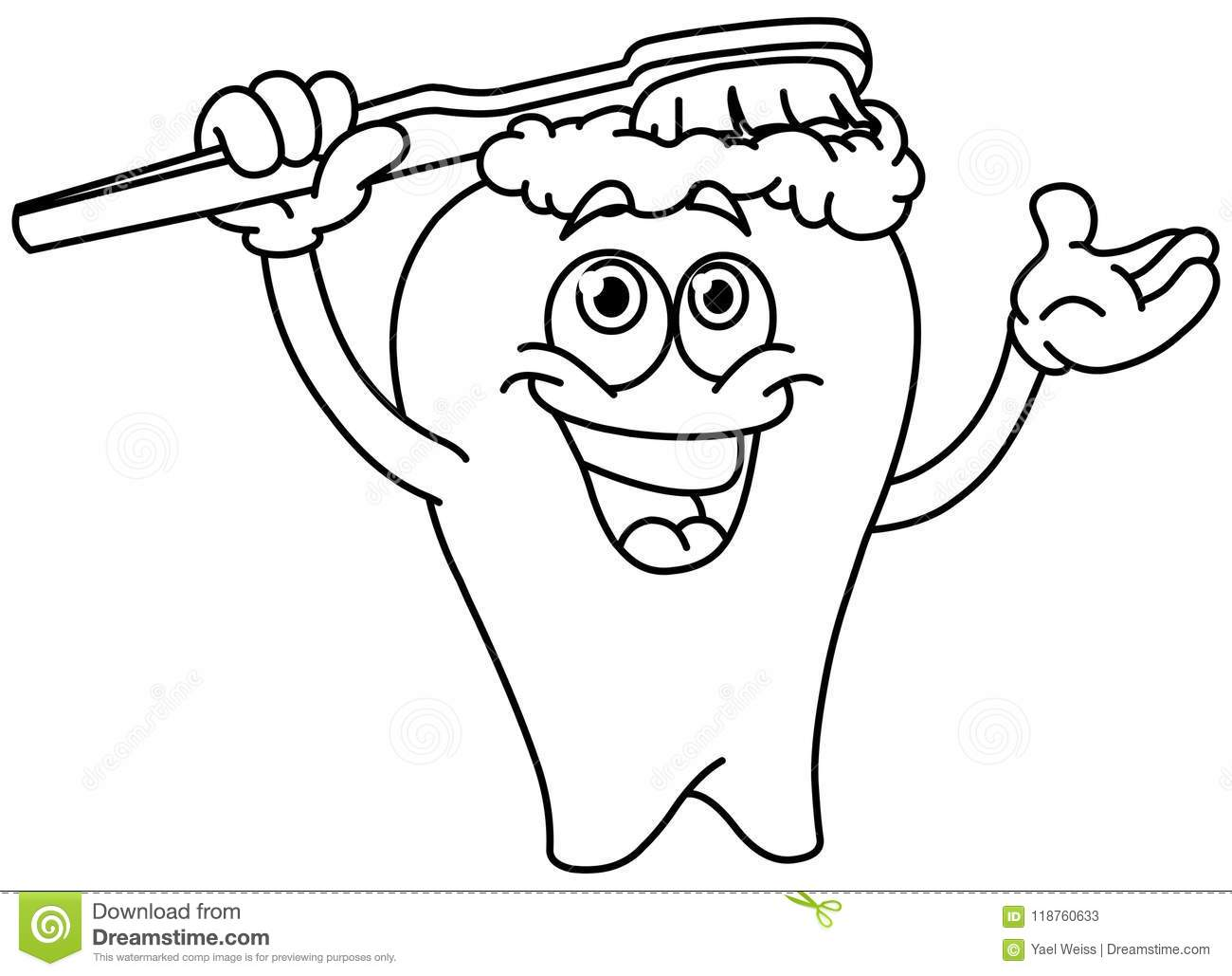 Outlined Brushing Tooth Stock Vector Illustration Of