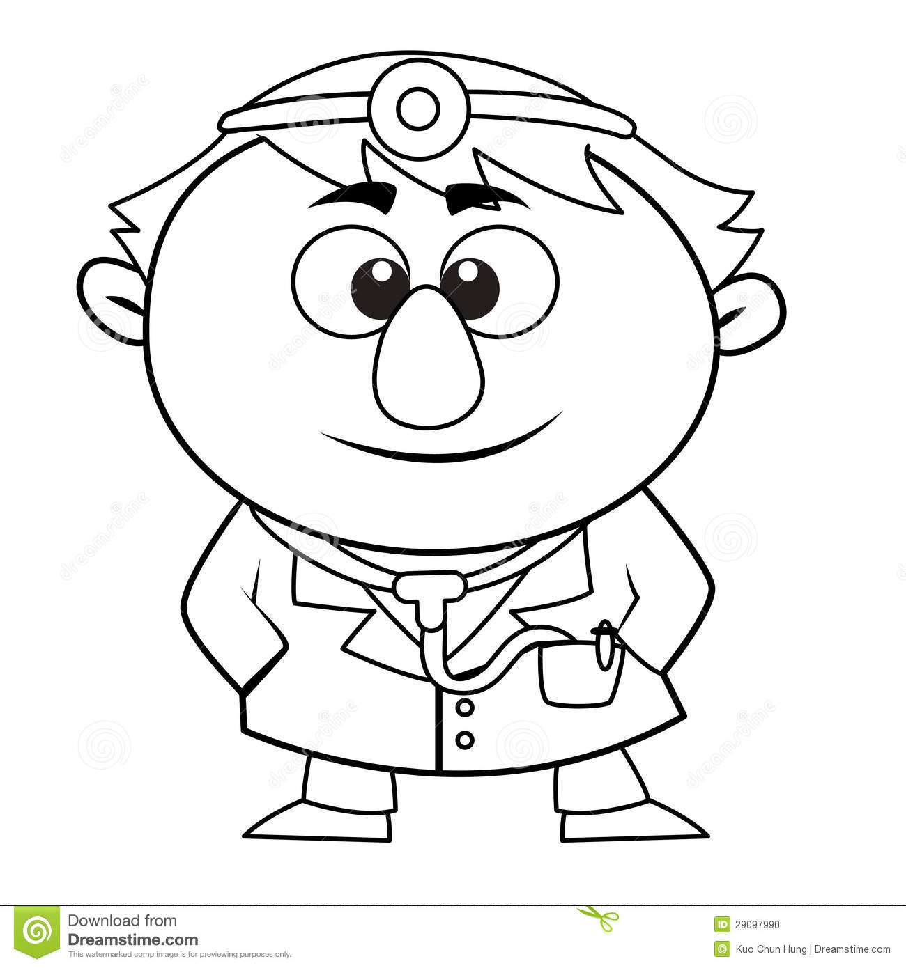 Outlined Cute Doctor Stock Vector Illustration Of