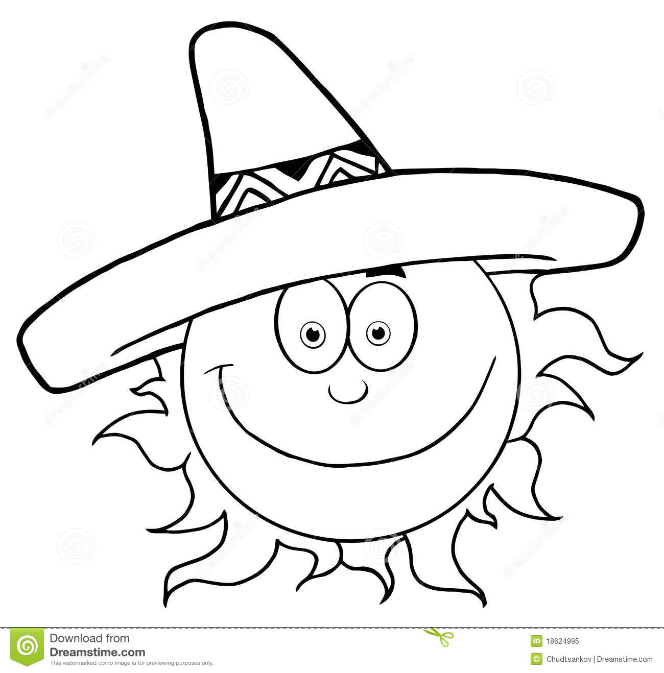 Outlined Smiling Sun With Sombrero Hat Stock Vector